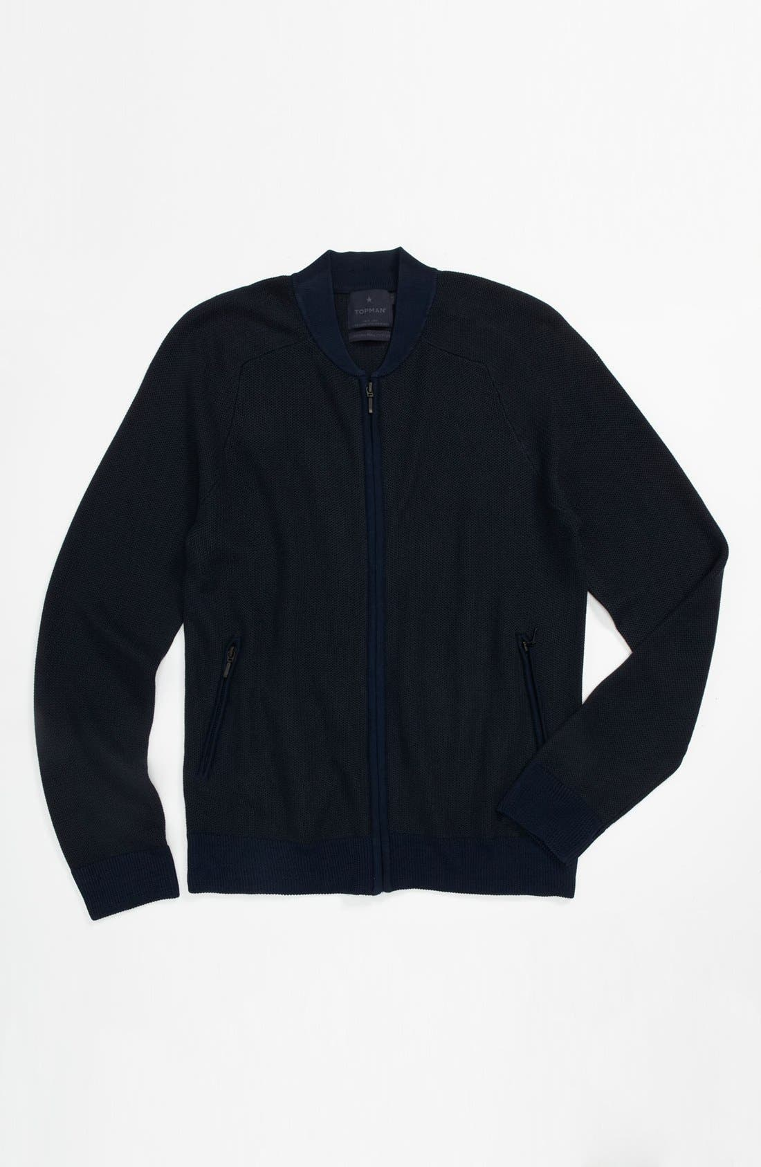 Alternate Image 1 Selected - Topman 'Lux Collection' Viscose Rayon & Cotton Zip Sweater