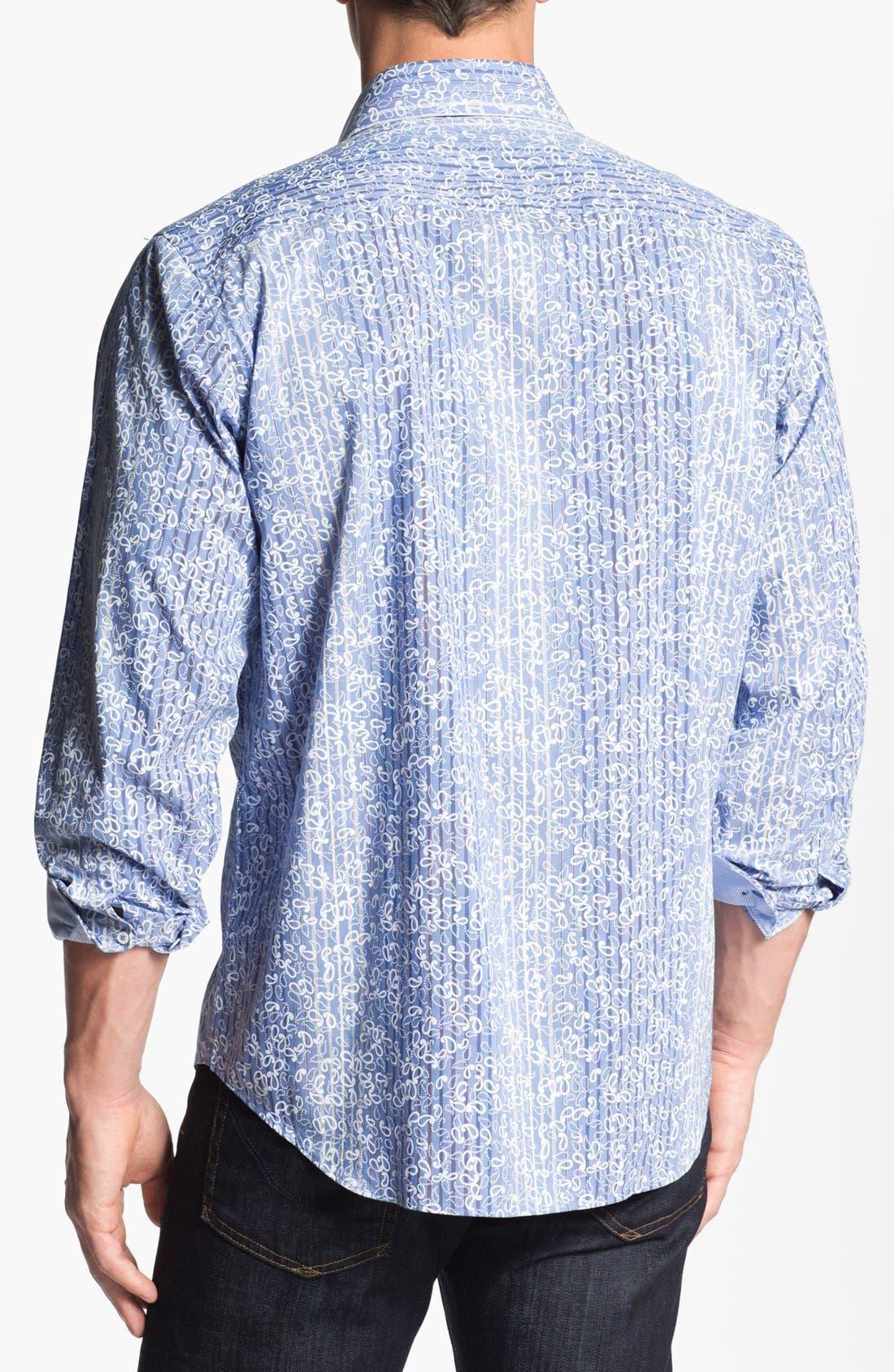 Alternate Image 3  - Bugatchi Striped Paisley Classic Fit Cotton Sport Shirt
