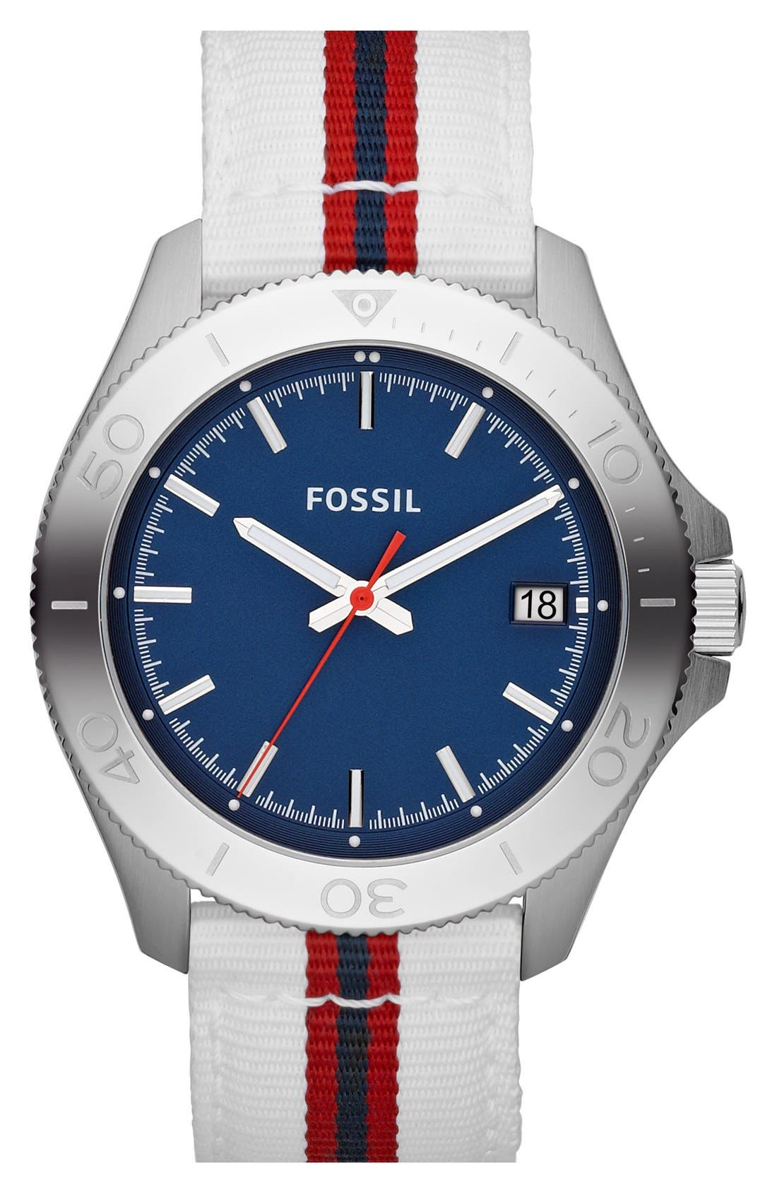 Alternate Image 1 Selected - Fossil 'Retro Traveler' Nylon Strap Watch, 44mm