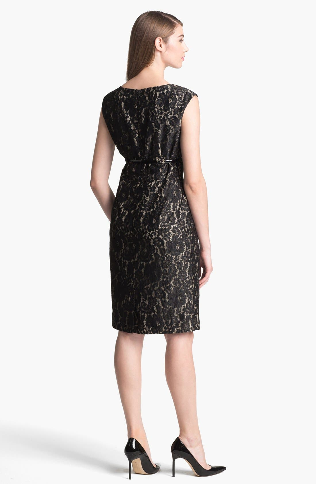 Alternate Image 2  - Calvin Klein Belted Lace Sheath Dress (Regular & Petite)