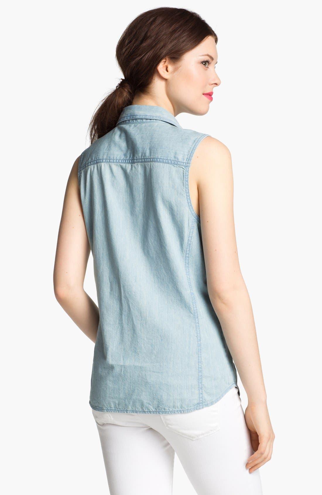 Alternate Image 2  - Caslon® Sleeveless Chambray Shirt