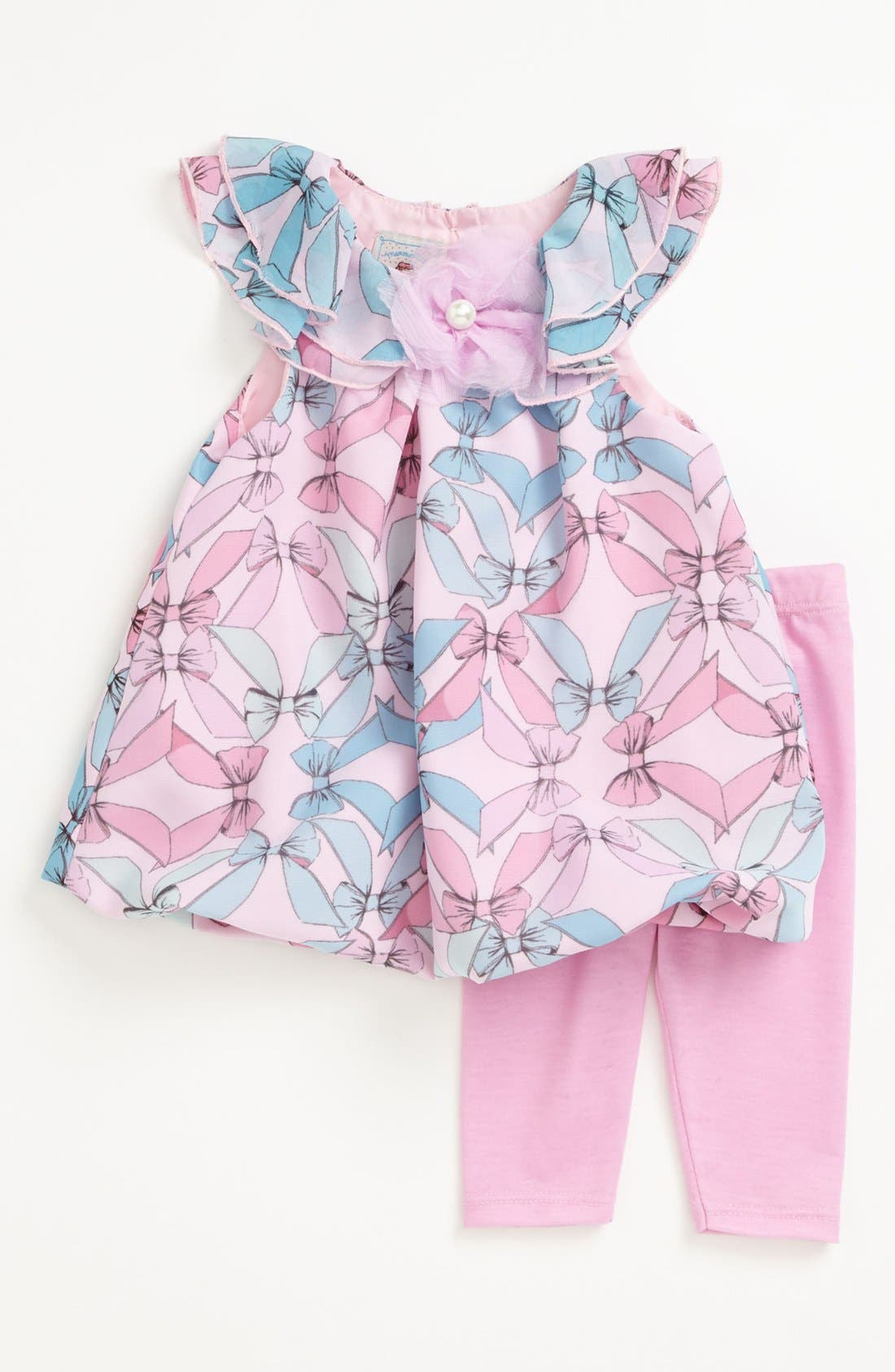 Alternate Image 1 Selected - Pippa & Julie Bow Print Dress & Leggings (Baby Girls)