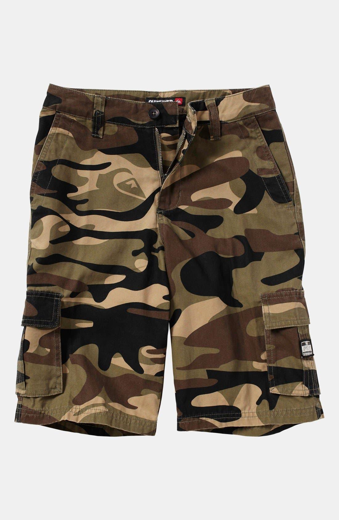 Main Image - Quiksilver 'Sue Fley' Camo Shorts (Big Boys)