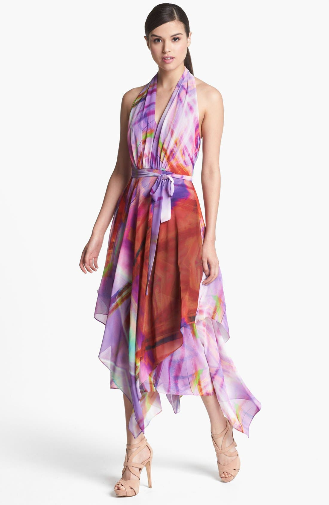 Alternate Image 1 Selected - Suzi Chin for Maggy Boutique Layered Chiffon Print Halter Dress
