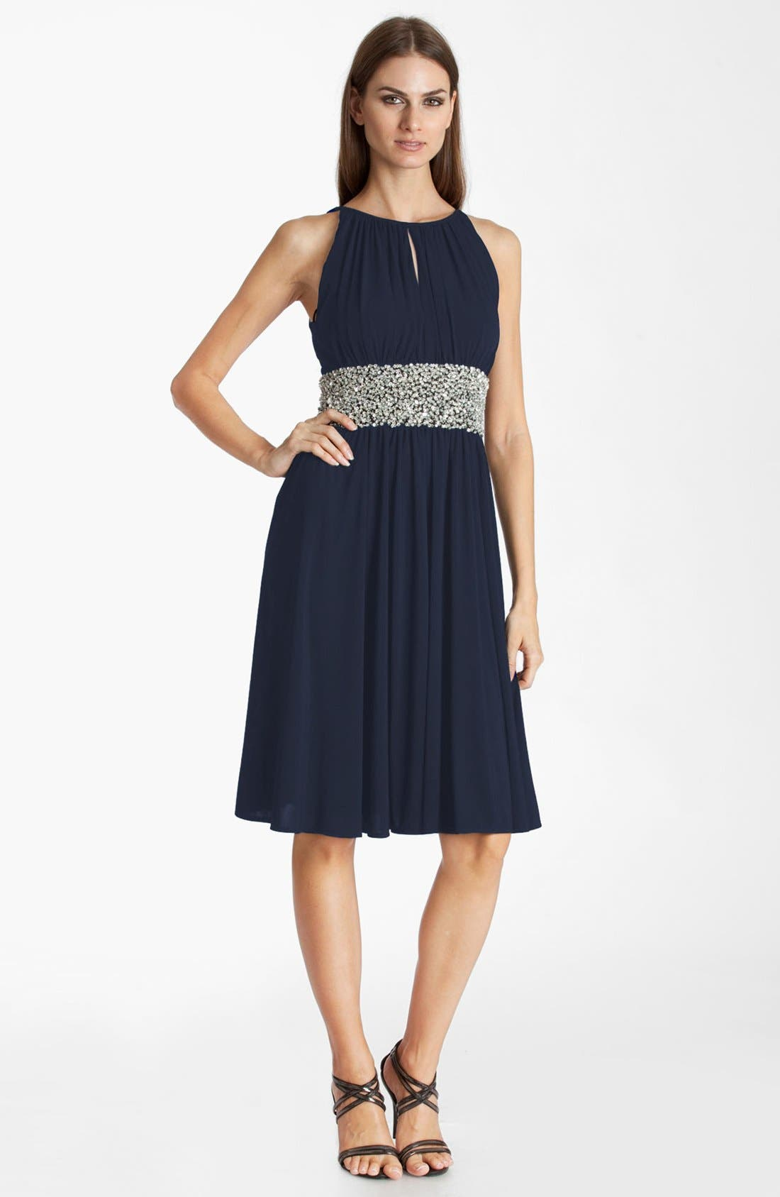 Main Image - JS Boutique Embellished Ruched Jersey Dress (Petite)