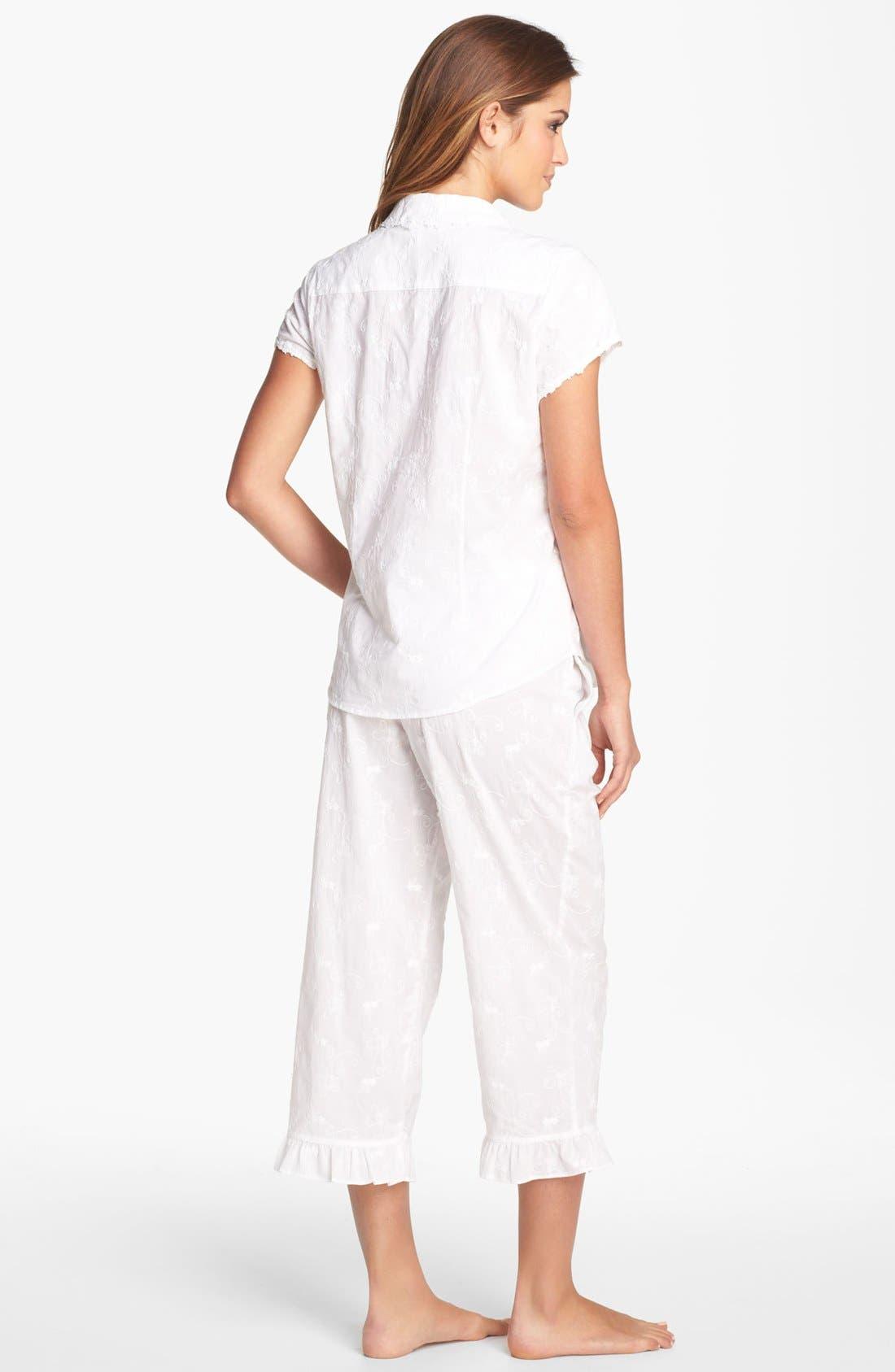 Alternate Image 2  - Eileen West 'Breaking Waves' Embroidered Pajamas