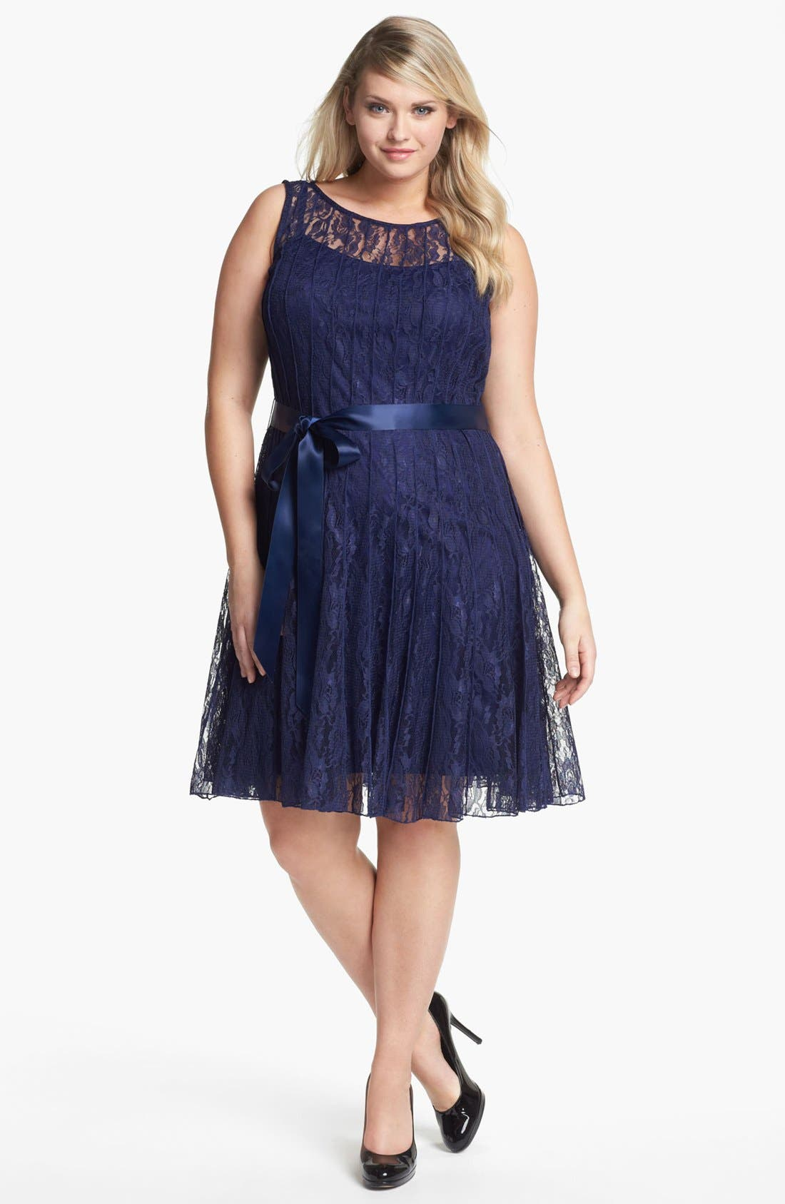 Main Image - Xscape Pleated Lace Fit & Flare Dress (Plus Size)
