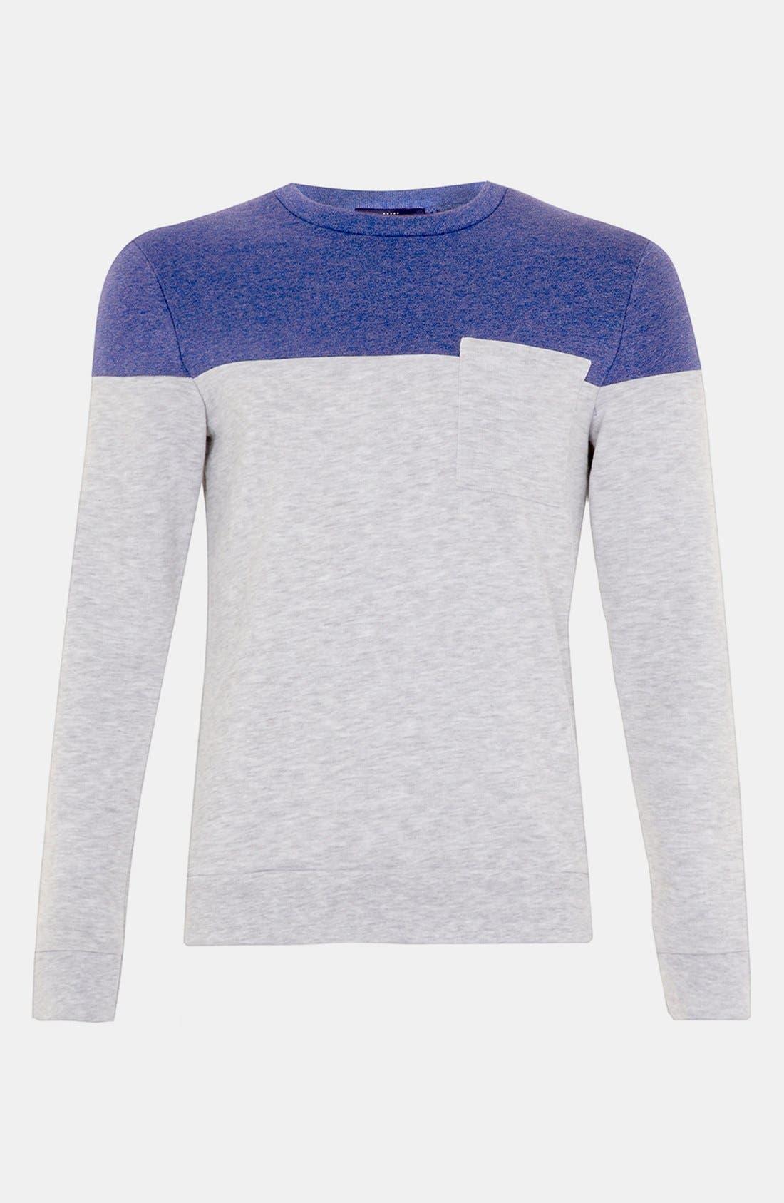 Main Image - Topman Cut & Sew Crewneck Sweatshirt