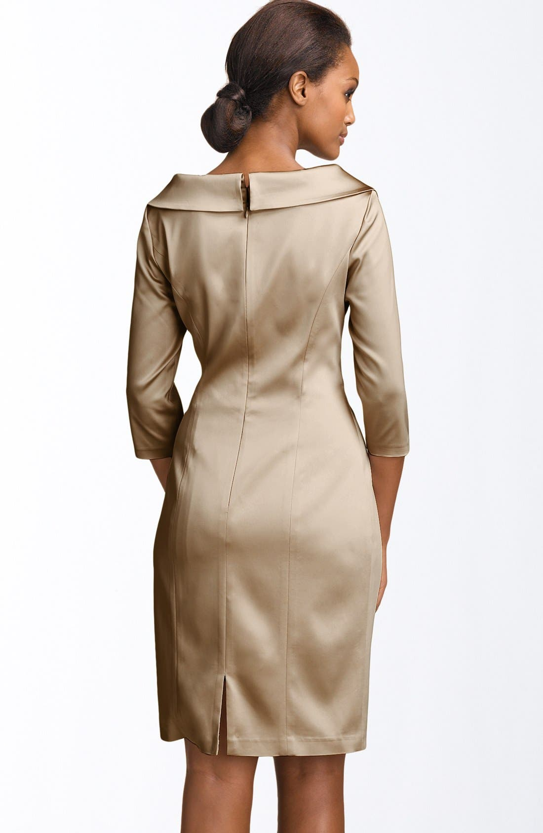 Alternate Image 2  - Kay Unger Stretch Satin Sheath Dress