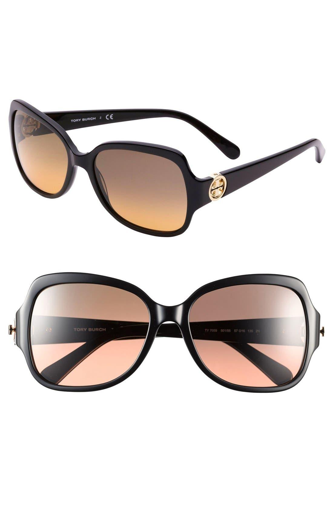 Main Image - Tory Burch 'Glam' 57mm Logo Hinge Sunglasses