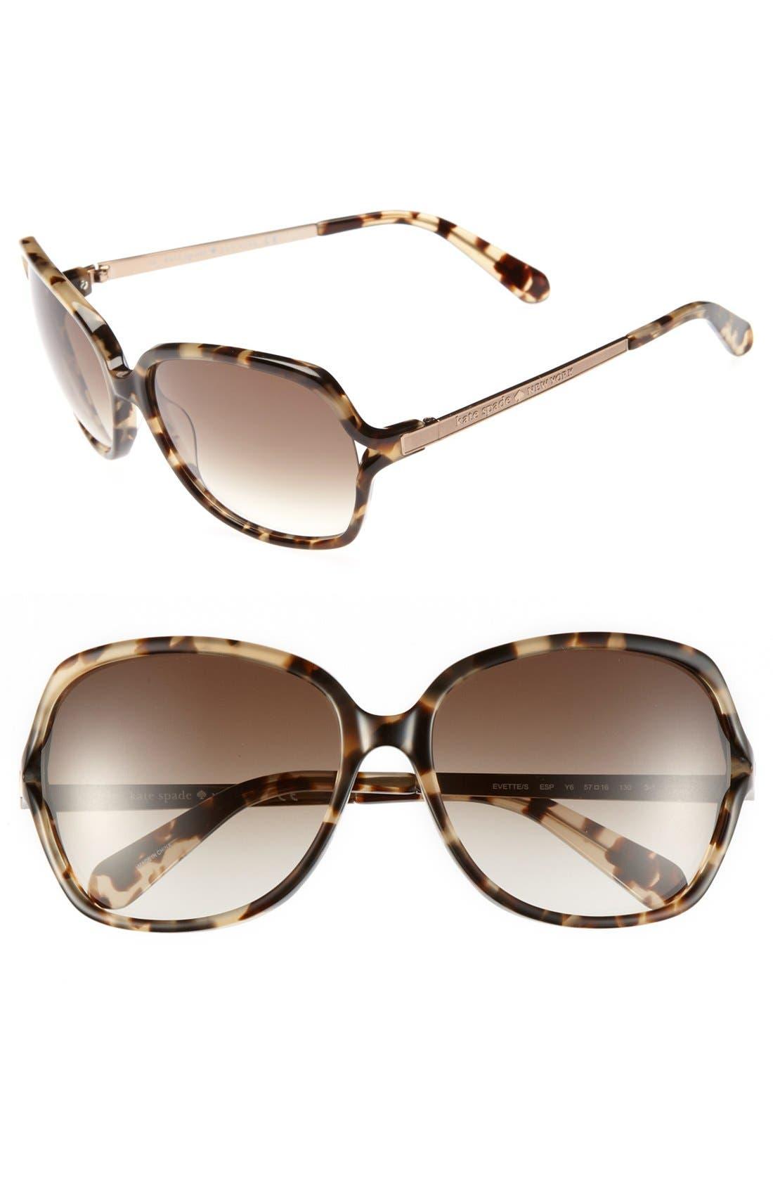 Alternate Image 1 Selected - kate spade new york 'evette' 57mm oversized sunglasses