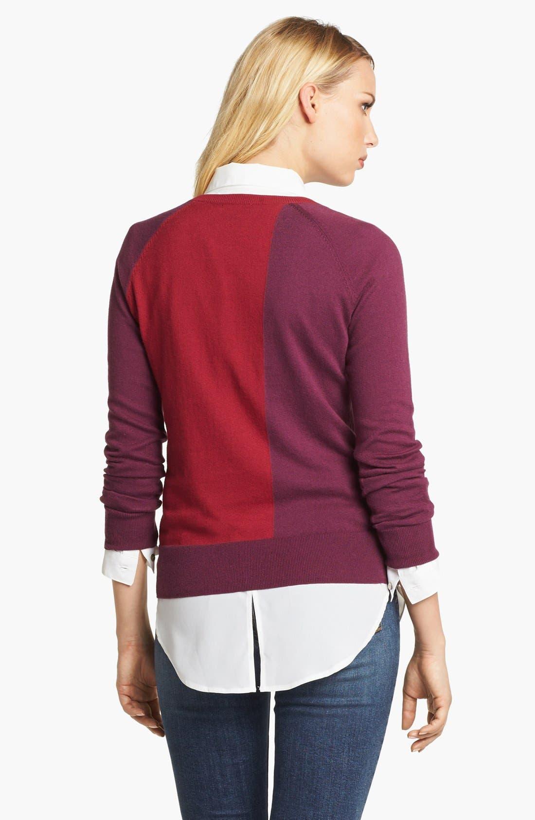 Alternate Image 2  - Amber Sun Zip Trim Colorblock Crewneck Sweater