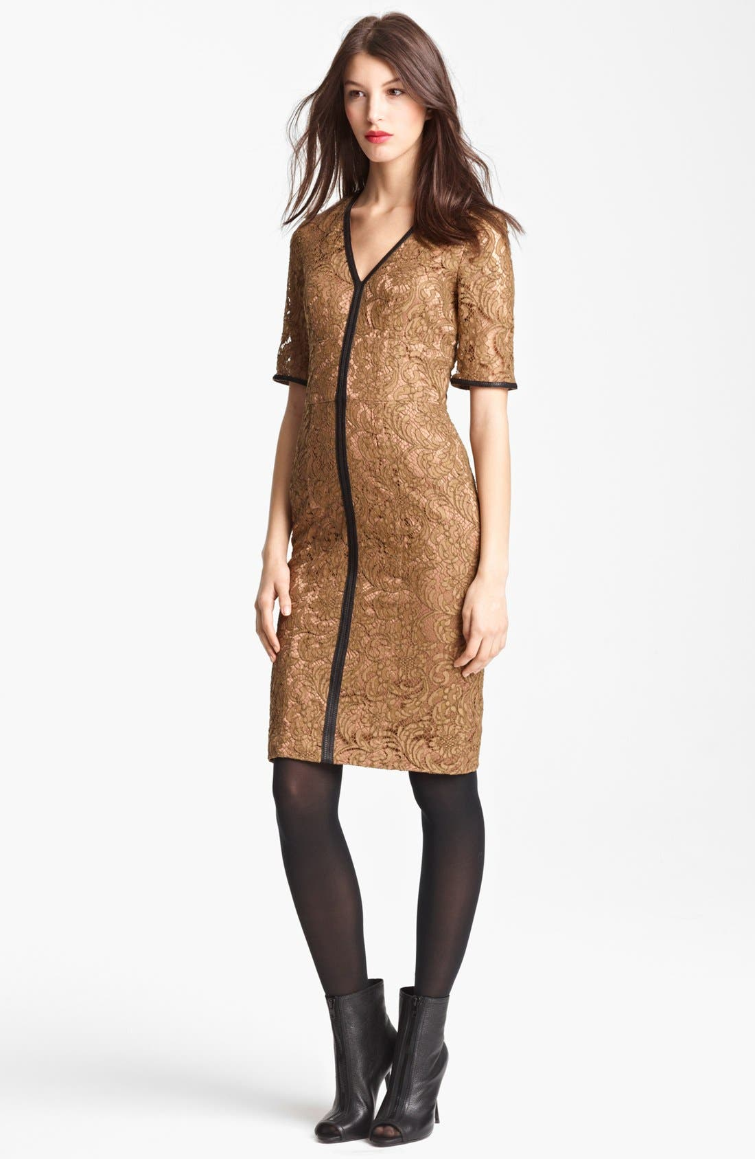 Main Image - Burberry London Leather Trim Lace Dress