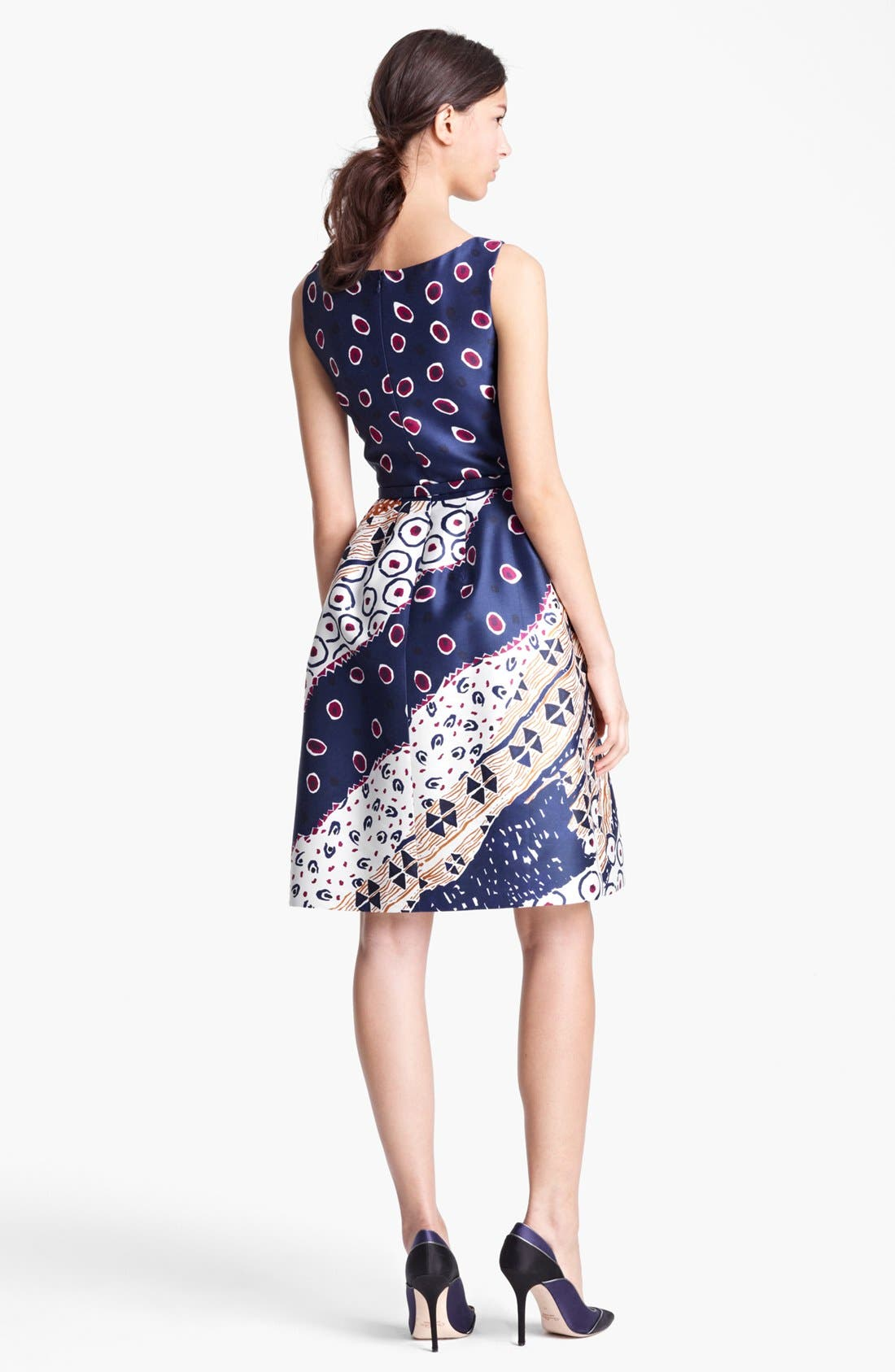 Alternate Image 2  - Oscar de la Renta Belted Print Dress