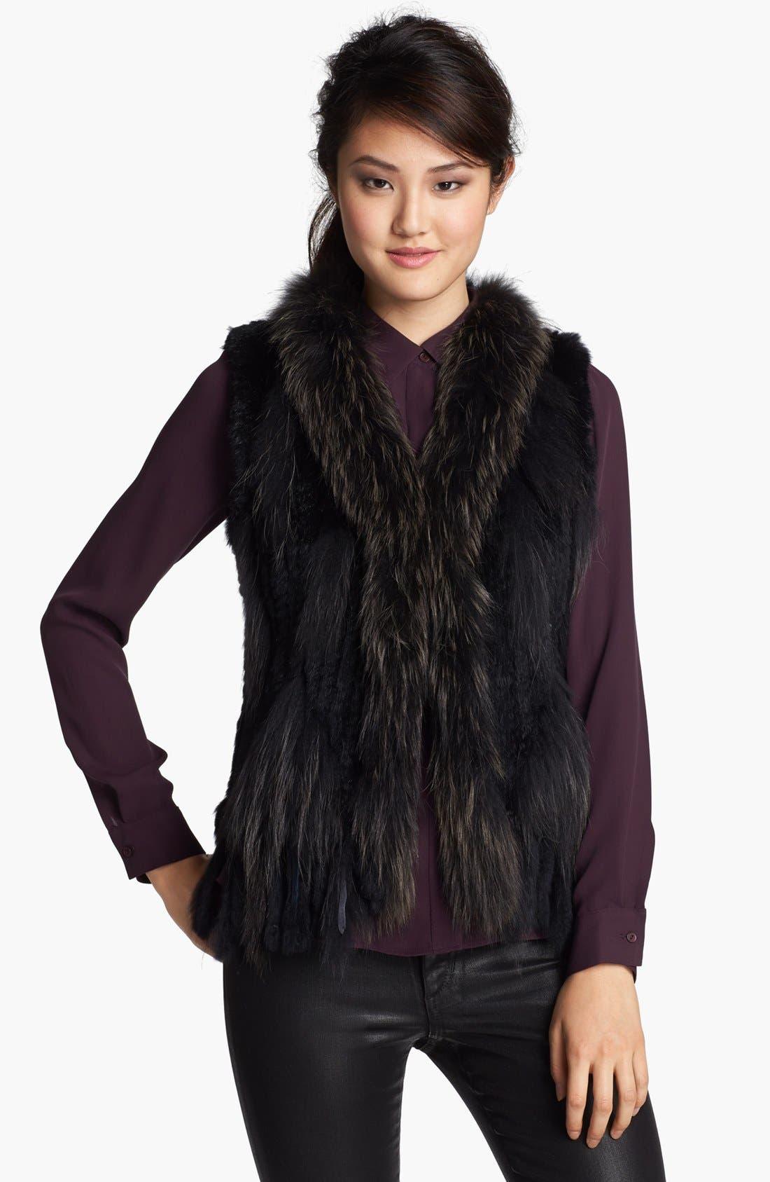 Genuine Rabbit & Raccoon Fur Vest,                             Main thumbnail 1, color,                             Black