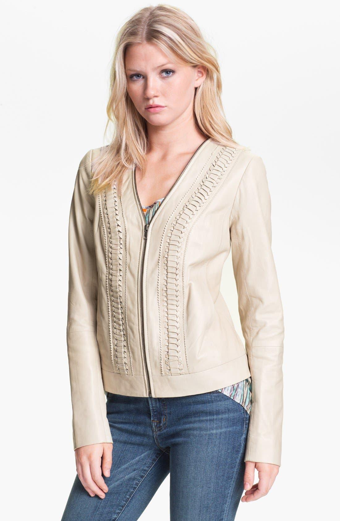 Alternate Image 1 Selected - Hinge® Braid Front Leather Jacket