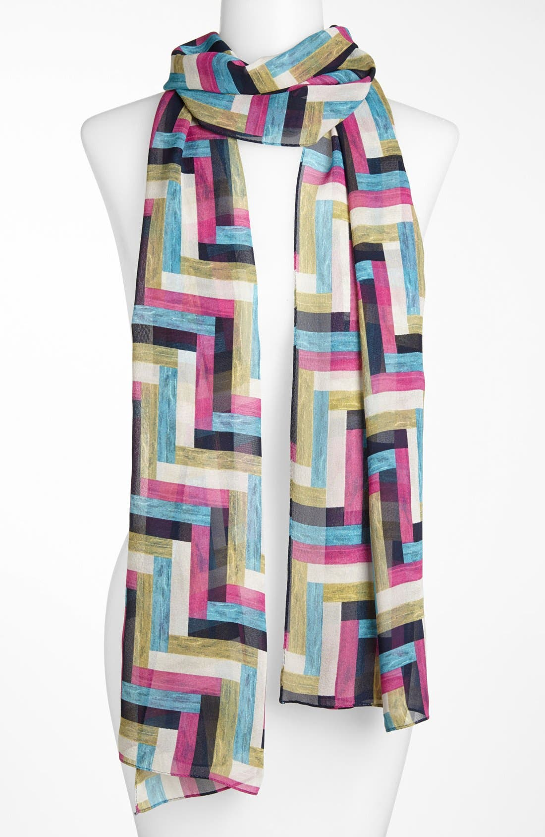 Alternate Image 1 Selected - St. John Collection Chevron Print Georgette Scarf