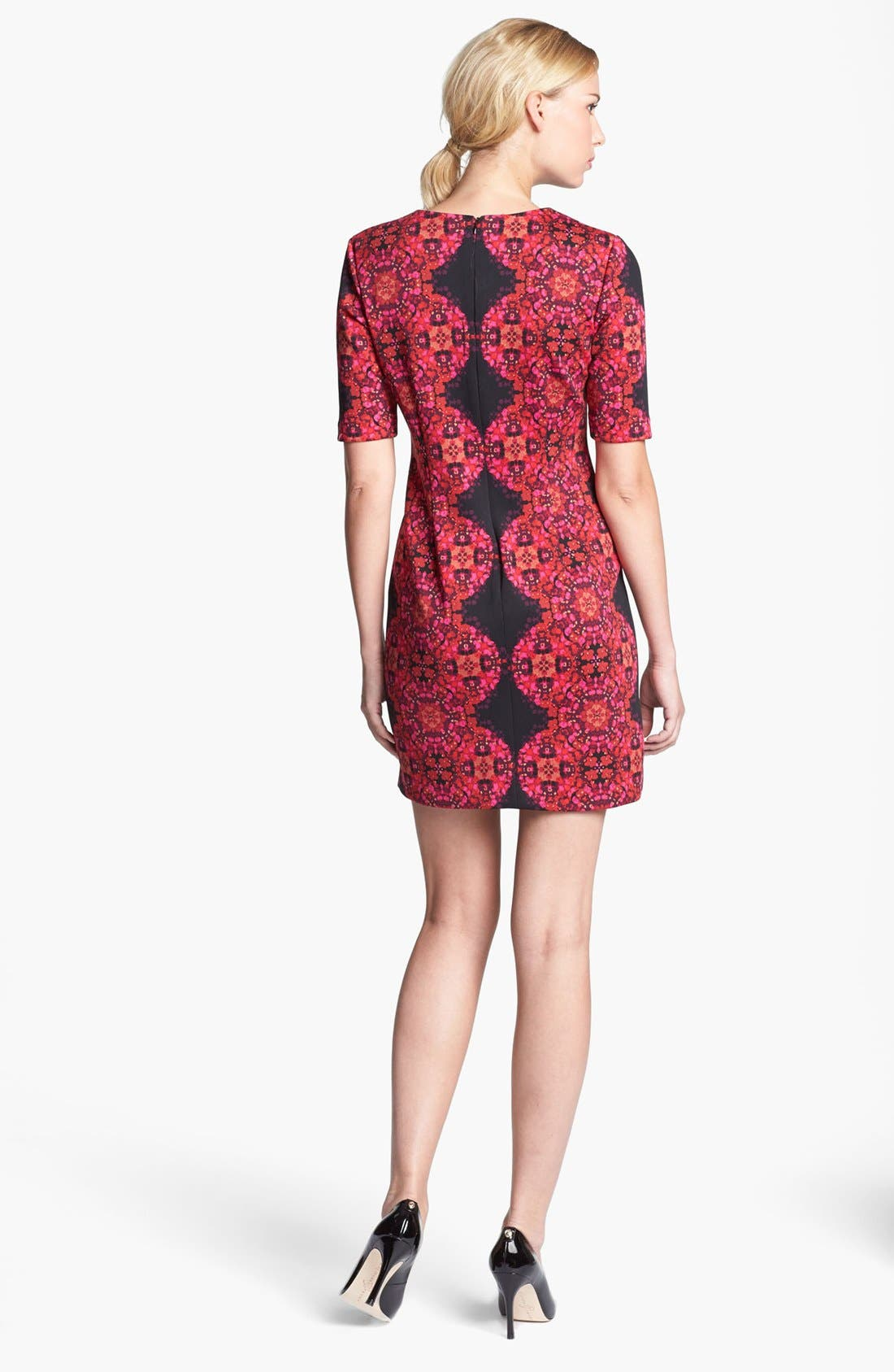 Elbow Sleeve Print Ponte Sheath Dress,                             Alternate thumbnail 2, color,                             Black/ Fuchsia