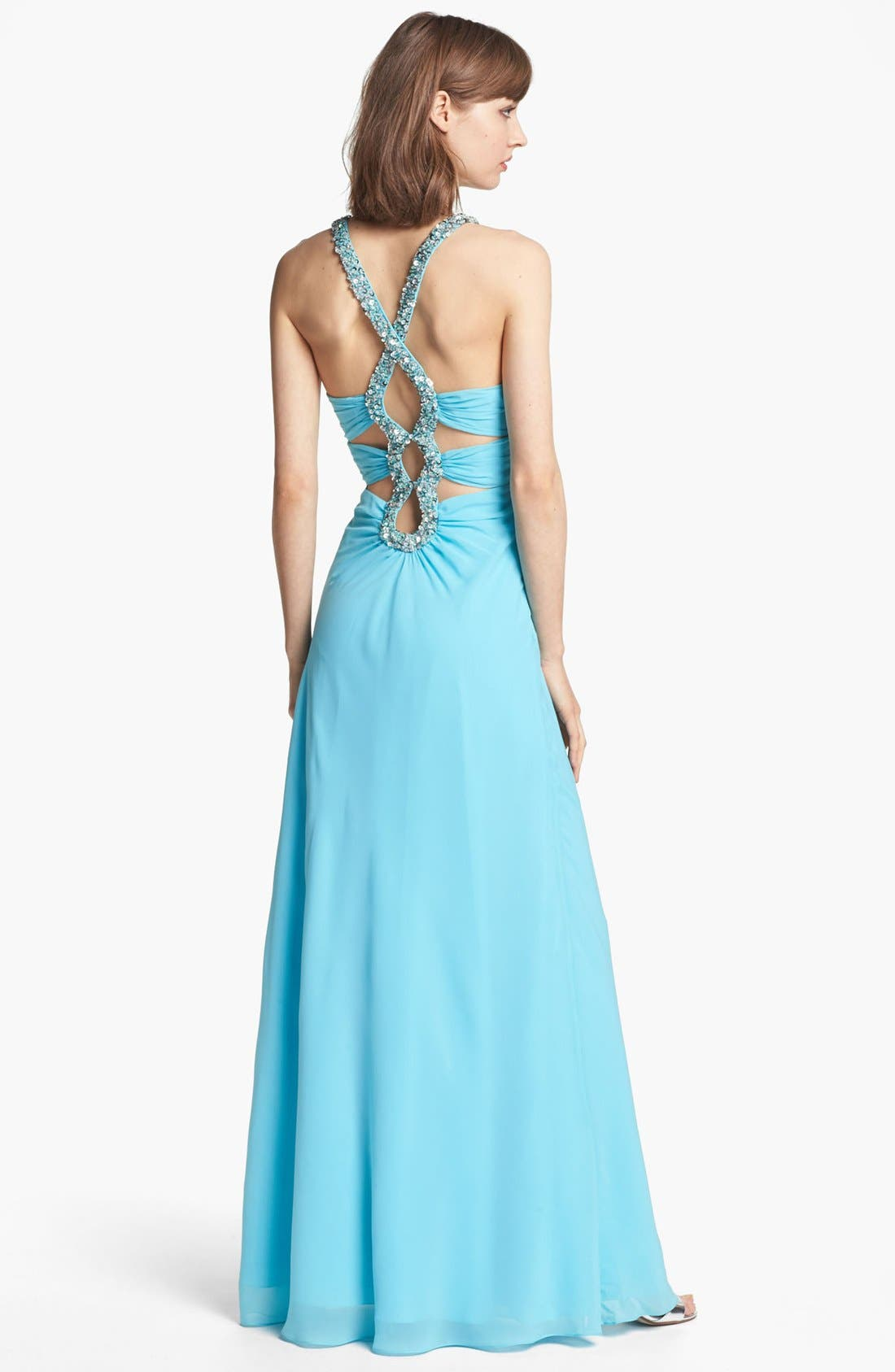 Alternate Image 2  - Faviana Beaded Cutout Back Gown