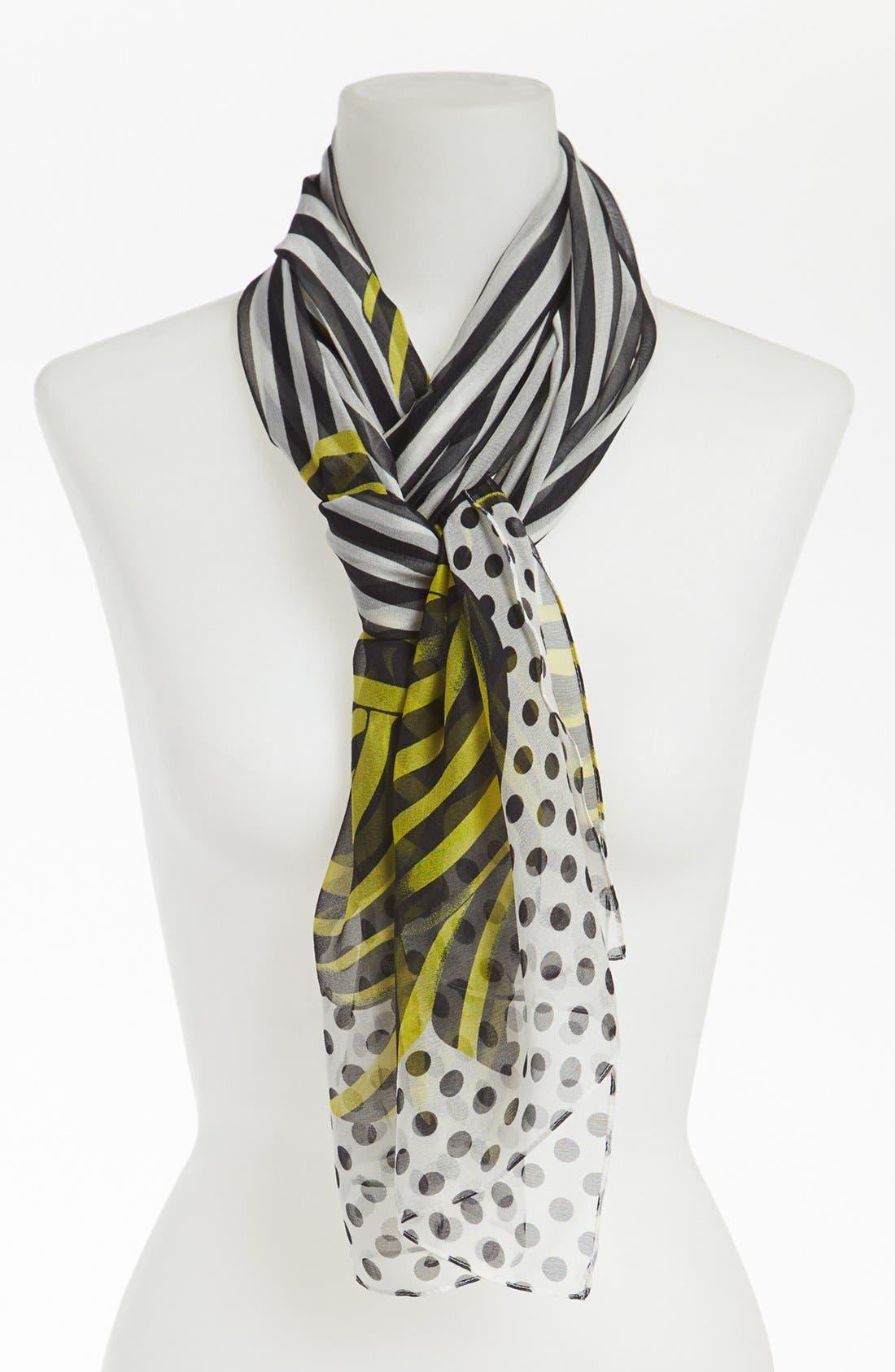Main Image - Nordstrom 'Stripe Dot Bow' Silk Scarf