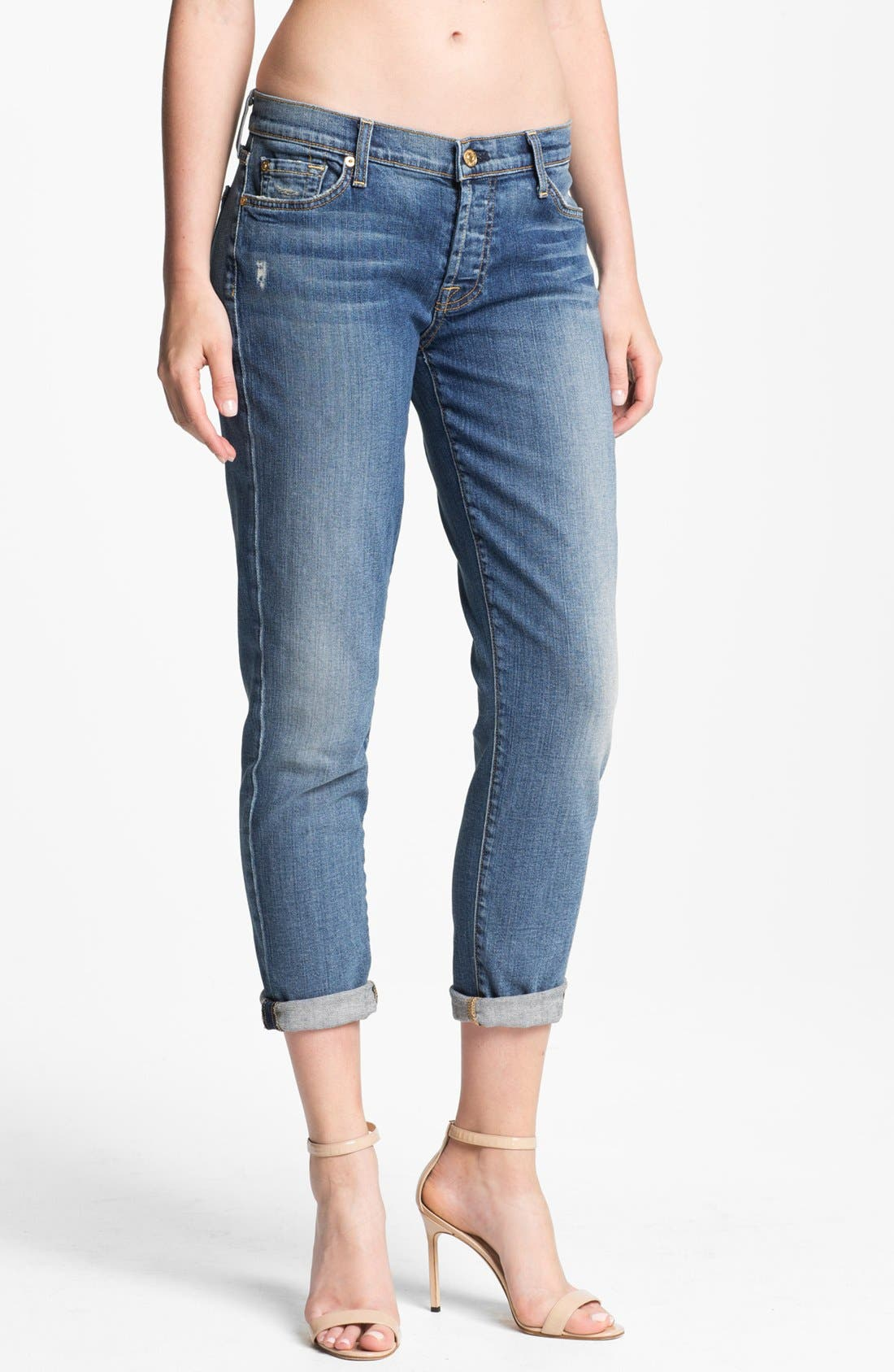 Main Image - 7 For All Mankind® 'Josefina' Jeans (Light Blue Distressed)