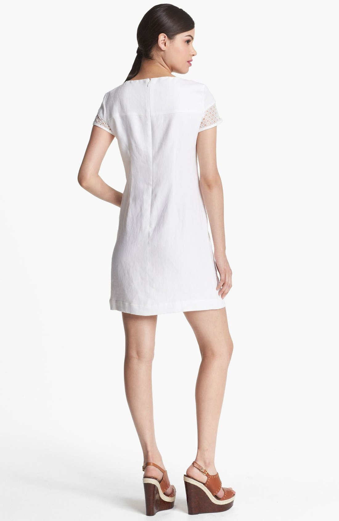 Alternate Image 2  - Donna Morgan Stripe Linen & Lace Shift Dress (Petite)