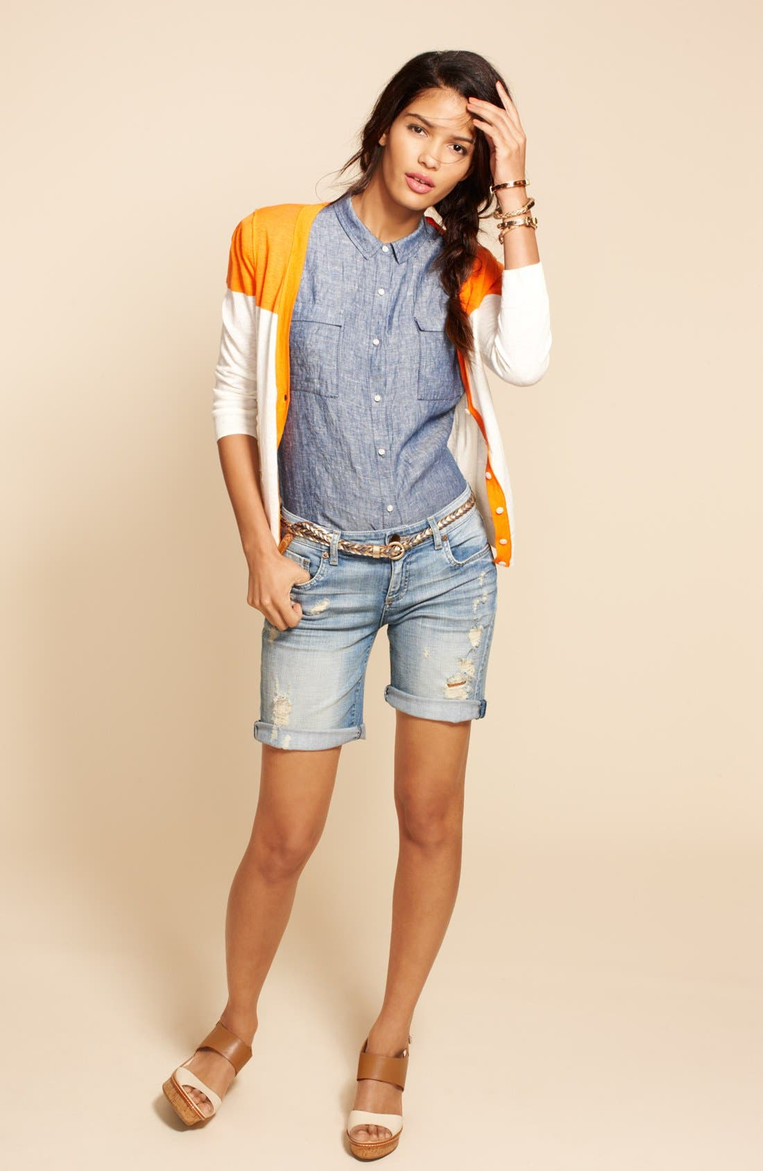 Main Image - Caslon® Cardigan, Top & KUT from the Kloth Shorts