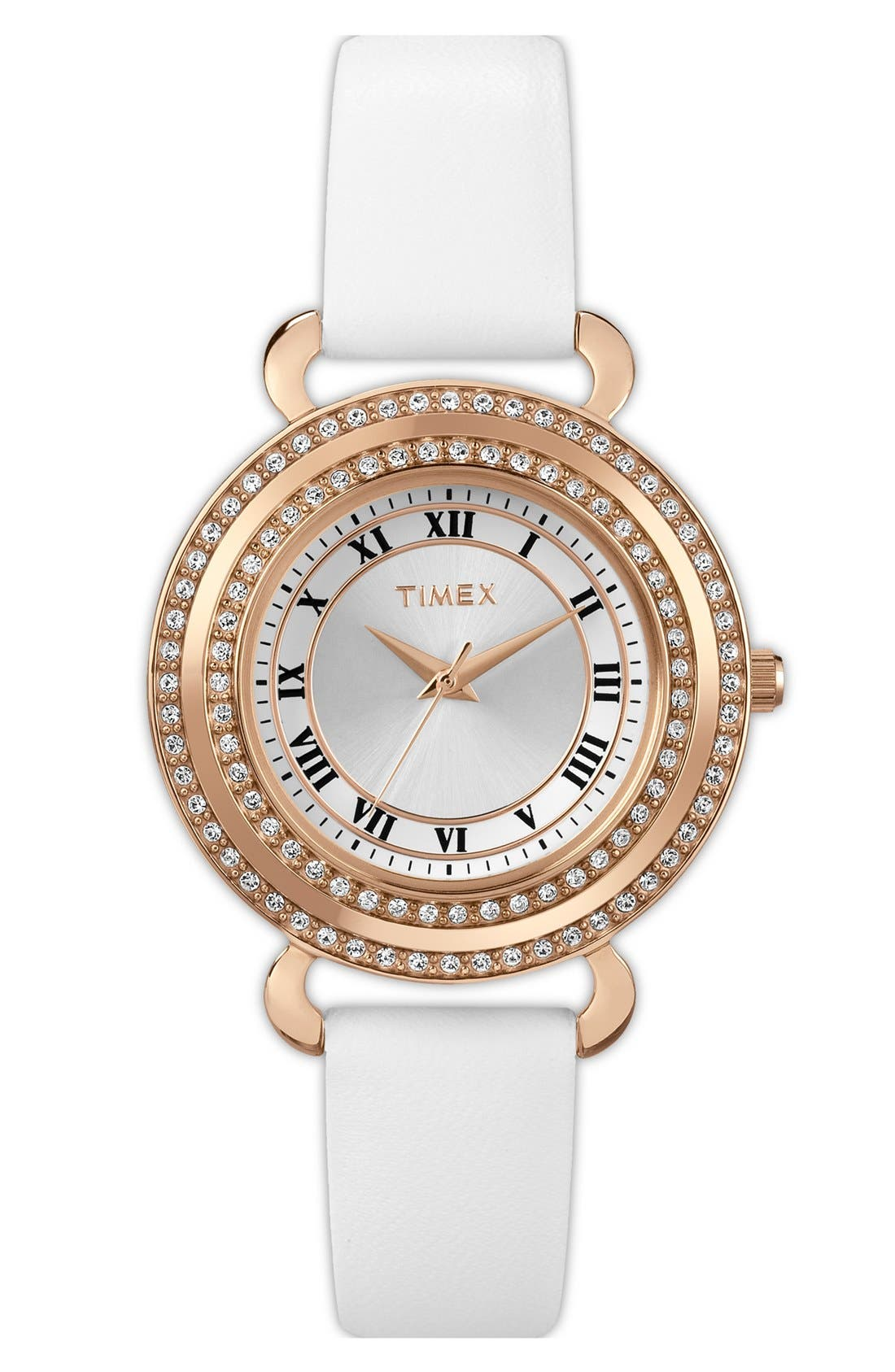 Main Image - Timex® 'Classic Crystals' Round Leather Strap Watch, 33mm