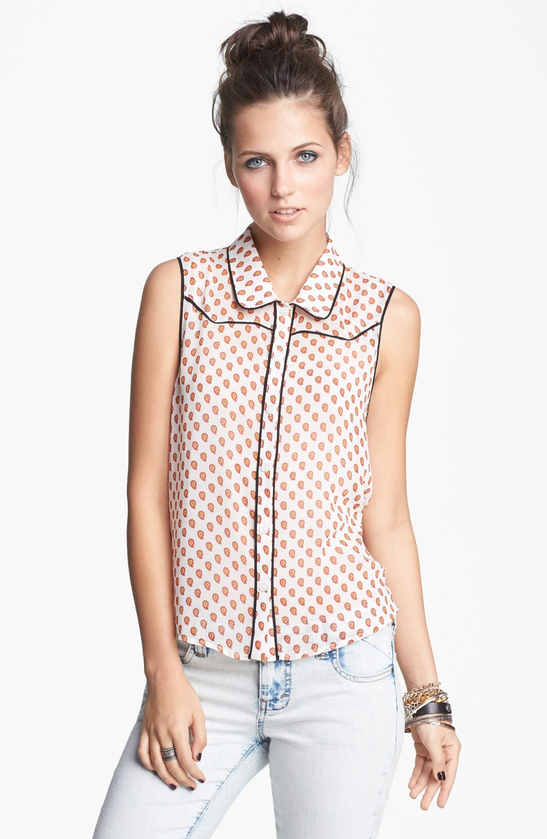 Alternate Image 1 Selected - Lush Sleeveless Western Top (Juniors)