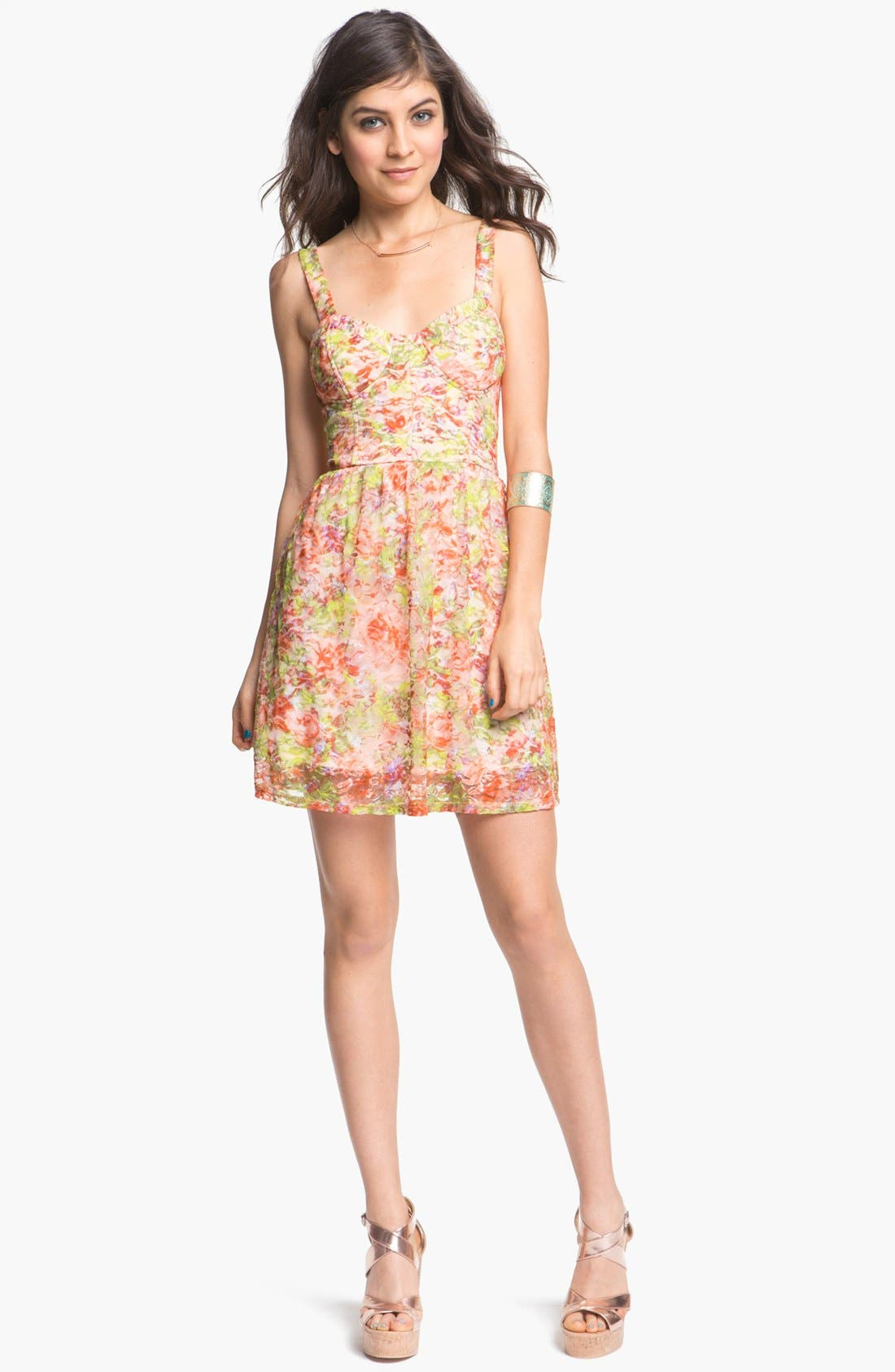 Main Image - As U Wish Lace Bustier Skater Dress (Juniors) (Online Only)