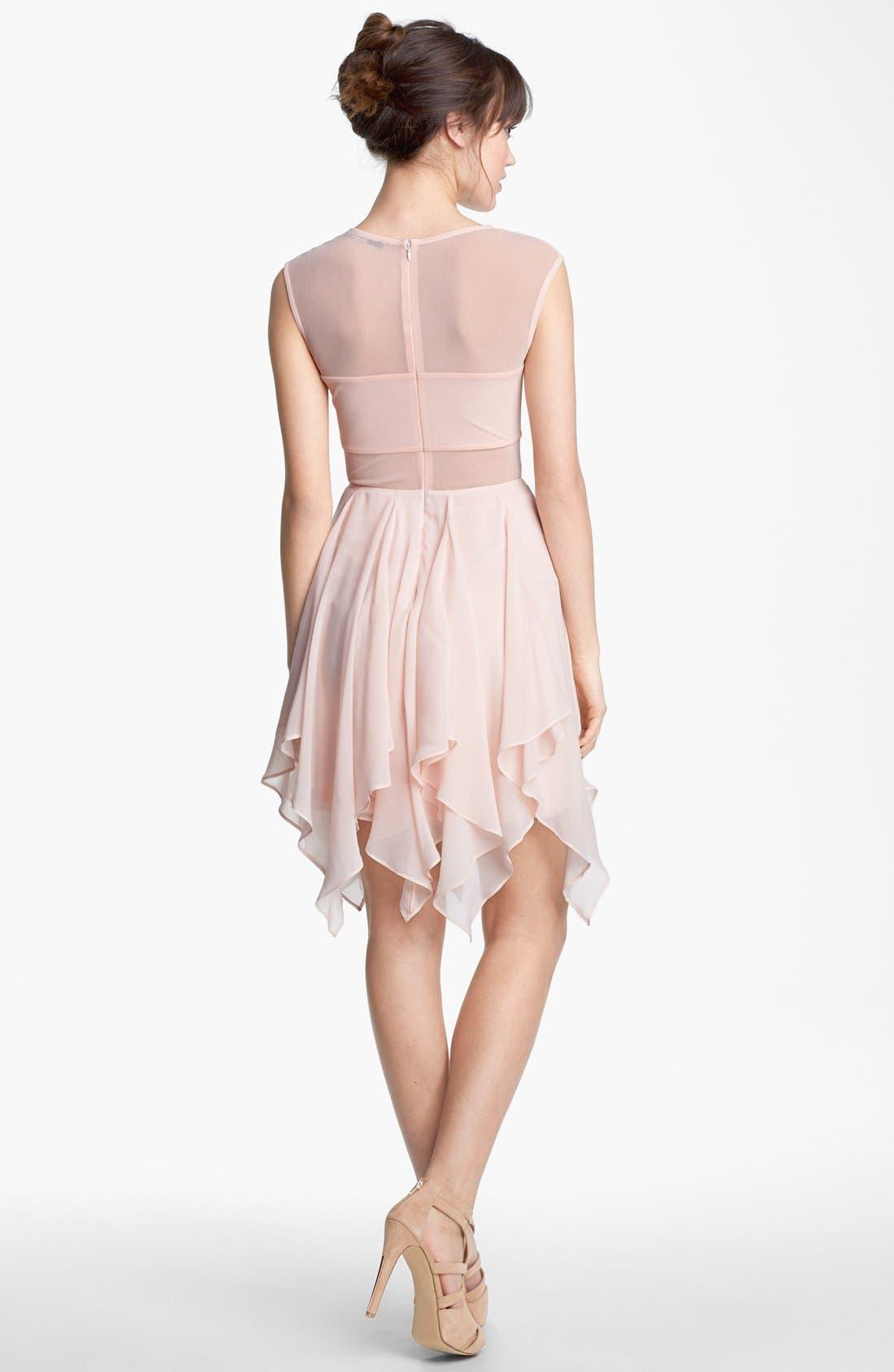 Alternate Image 2  - En Crème Cap Sleeve Corkscrew Dress (Juniors)