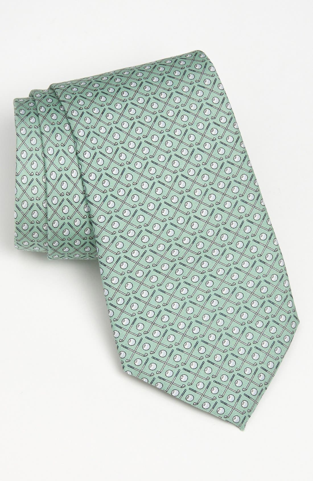 Golf Clubs Silk Tie,                             Main thumbnail 1, color,                             Green