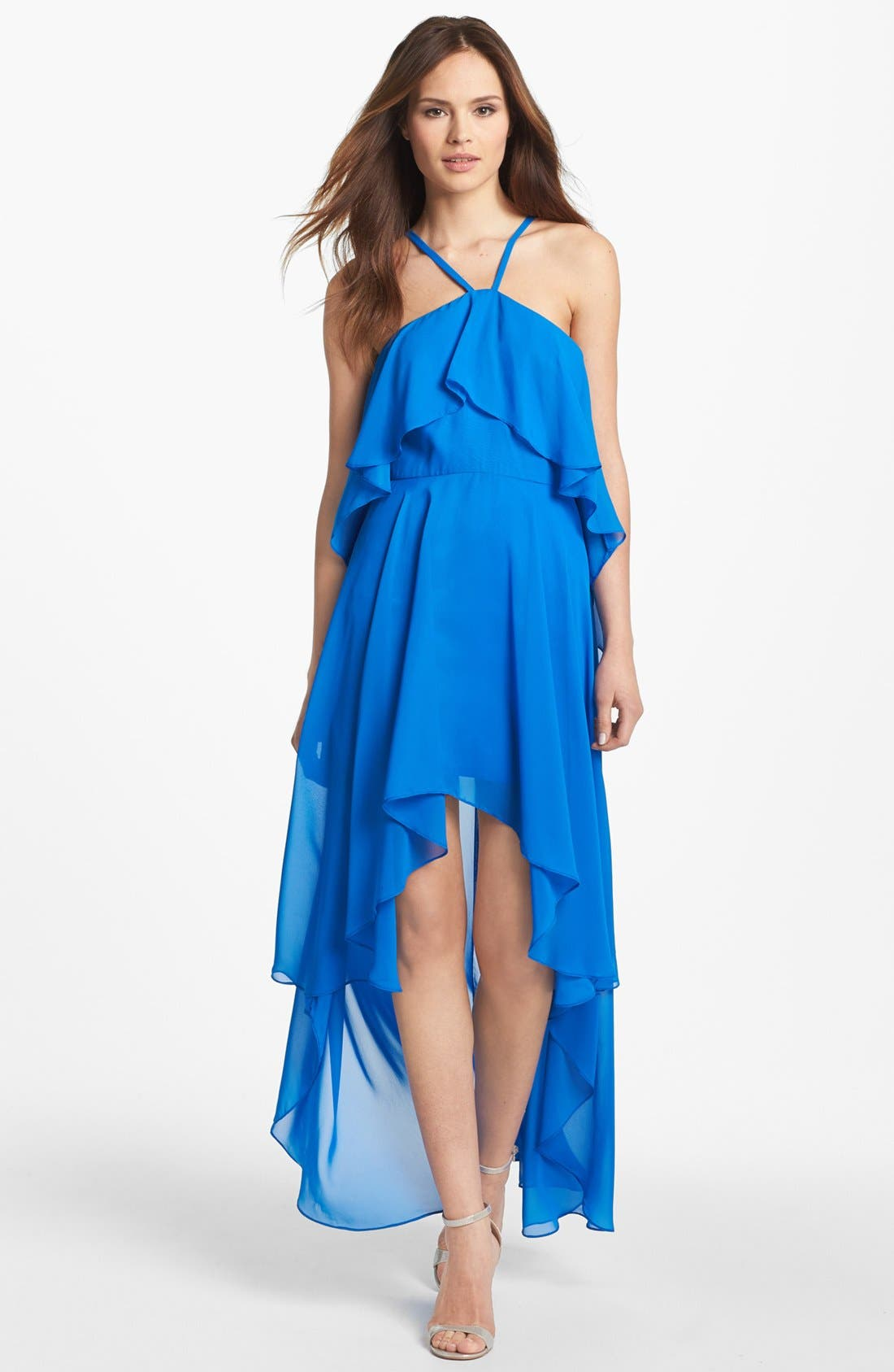 Alternate Image 1 Selected - Hailey by Adrianna Papell Ruffled High/Low Chiffon Dress (Online Only)