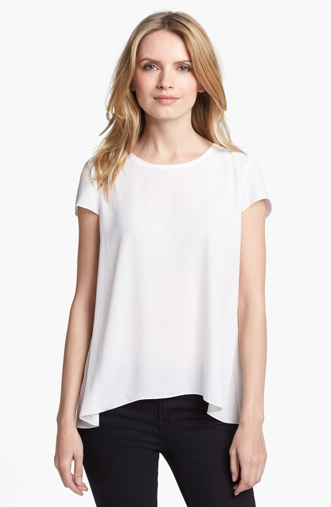 Main Image - Adrianna Papell Short Sleeve Pleat Back Blouse