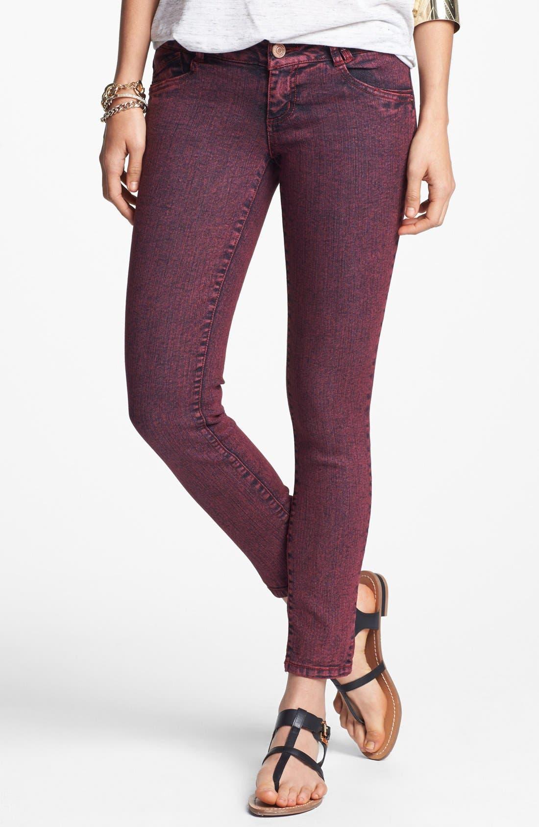 Alternate Image 1 Selected - Jolt Overdyed Skinny Jeans (Brick) (Juniors)