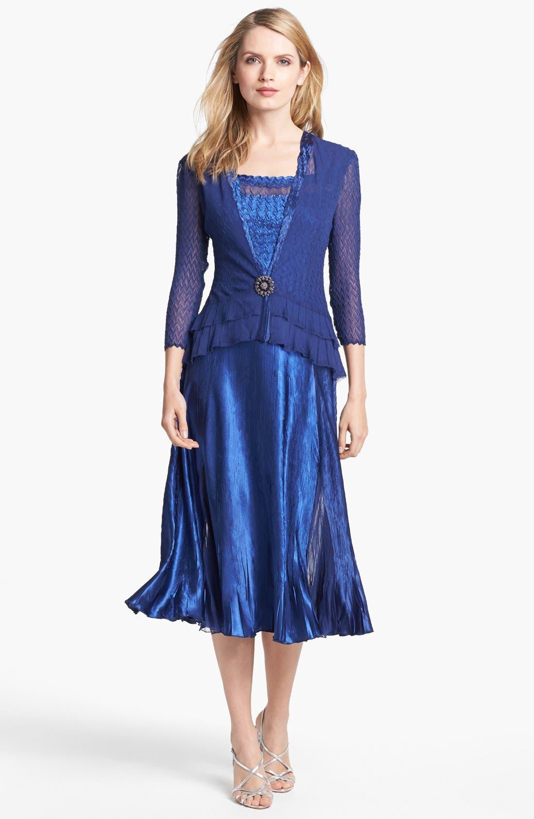 Alternate Image 1 Selected - Komarov Textured Satin Dress & Jacket