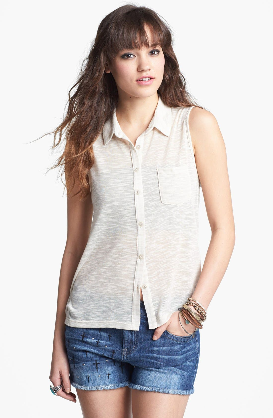 Alternate Image 2  - Lily White High/Low Knit Shirt (Juniors)