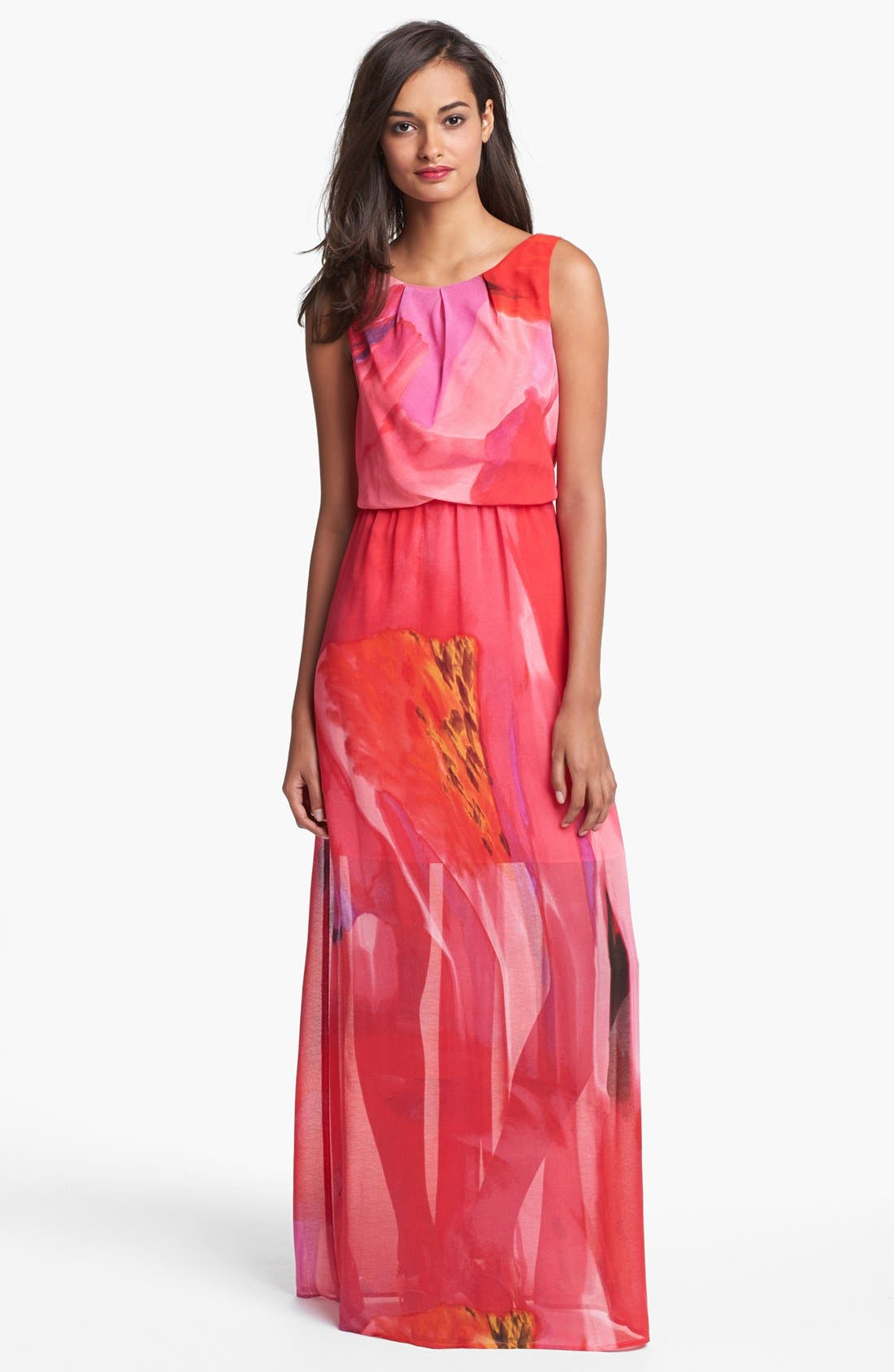 Alternate Image 1 Selected - Vince Camuto Blouson Print Chiffon Maxi Dress