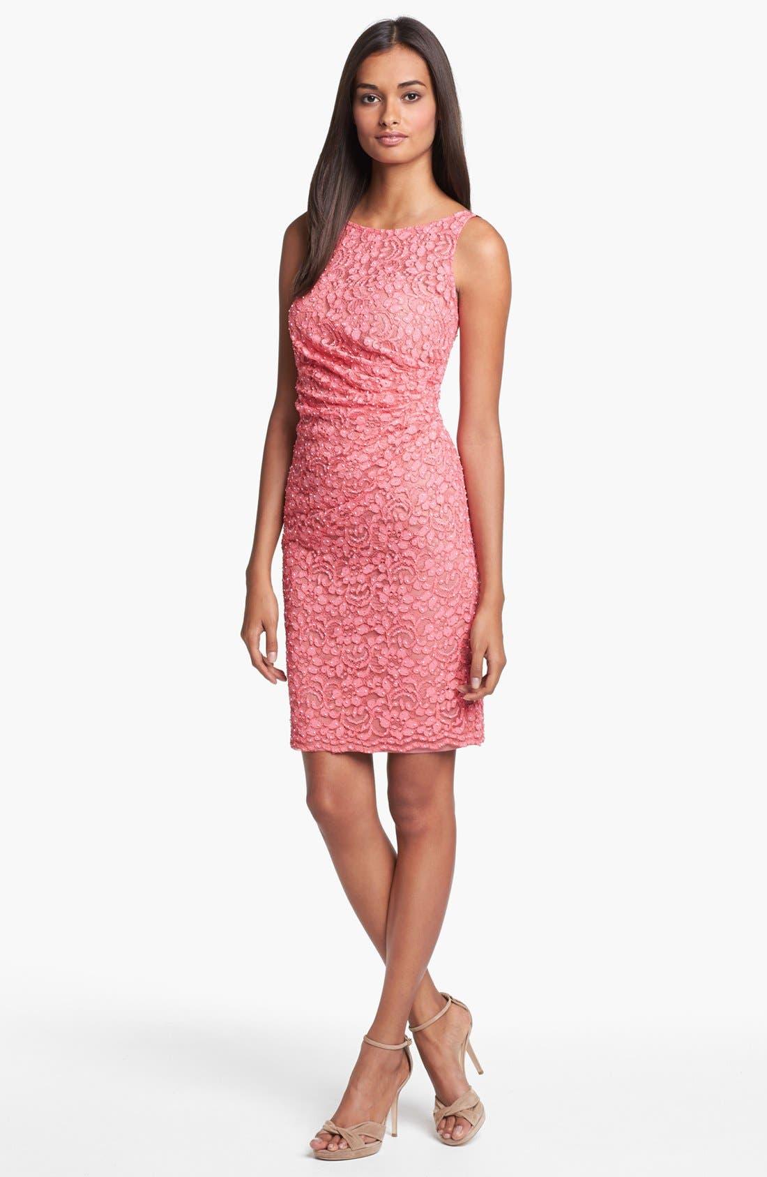 Main Image - Aidan Mattox Embellished Lace Sheath Dress (Online Only)