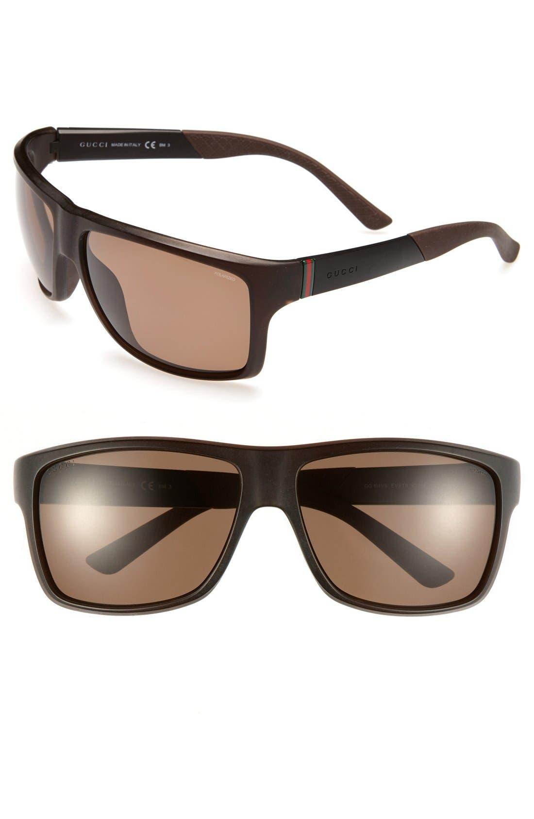 Alternate Image 1 Selected - Gucci 62mm Polarized Sunglasses