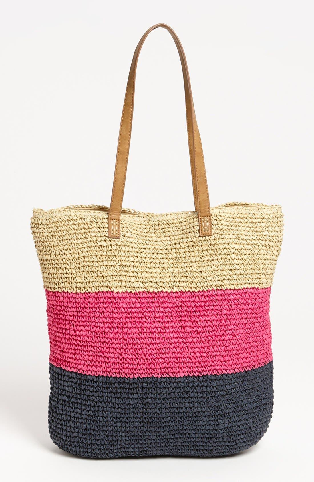 Alternate Image 4  - Straw Studios Crochet Stripe Tote