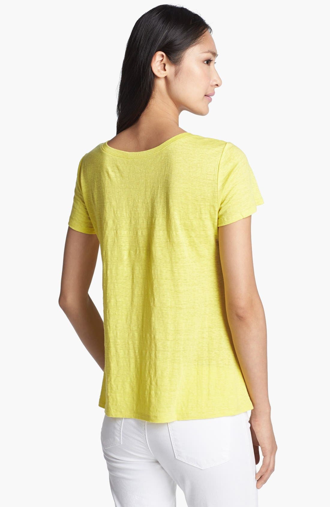 Alternate Image 2  - Eileen Fisher V-Neck Linen Jersey Tee
