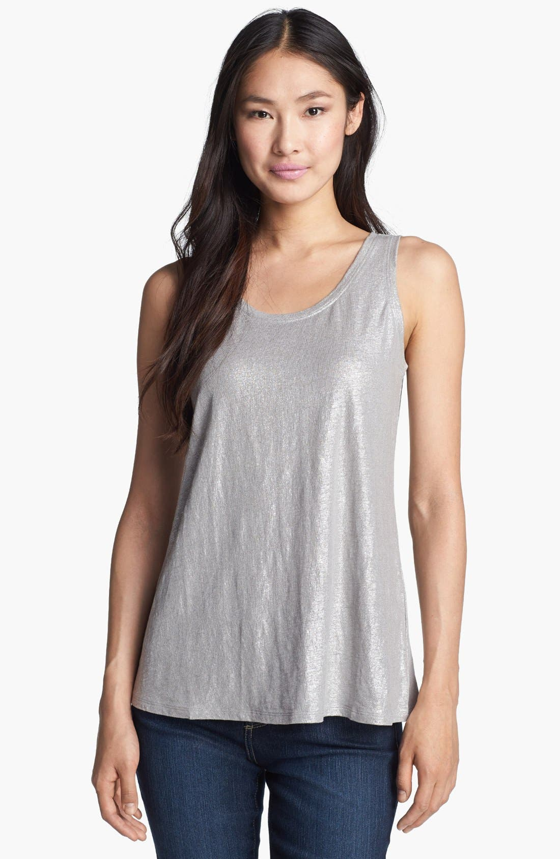 Alternate Image 1 Selected - Eileen Fisher Shimmer Jersey Tank