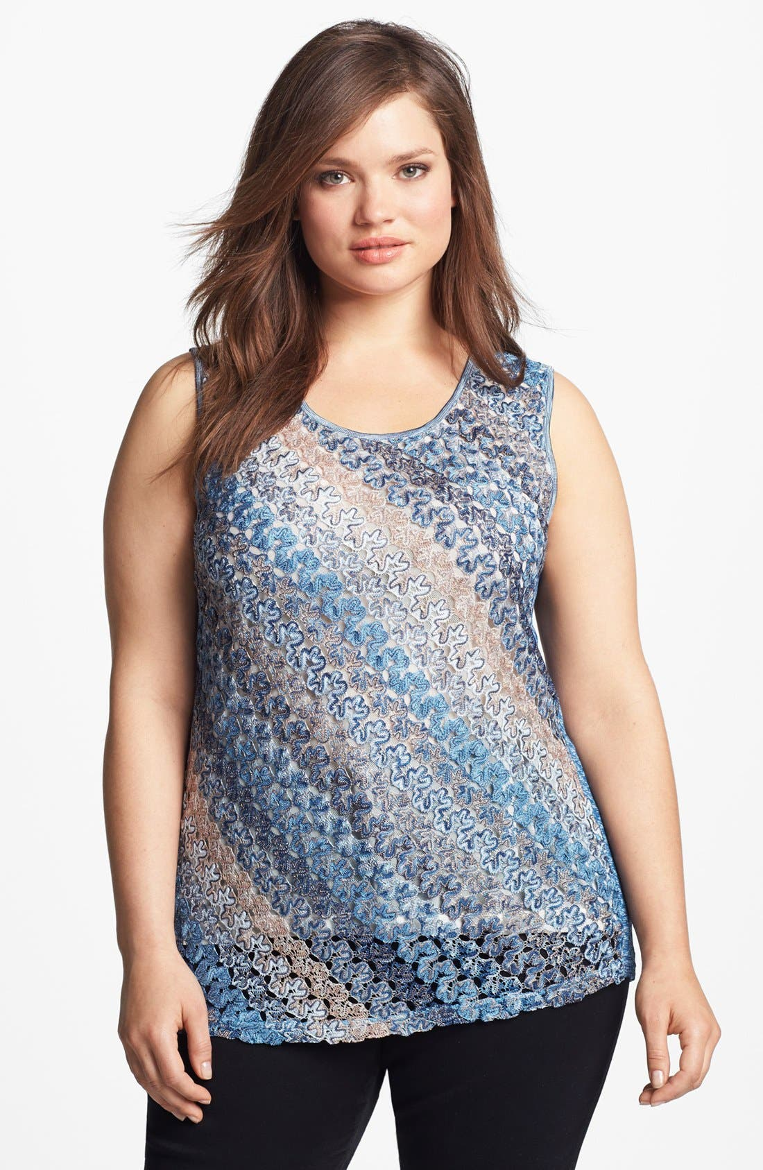 Alternate Image 1 Selected - Nic + Zoe Lace Weave Tank (Plus Size)