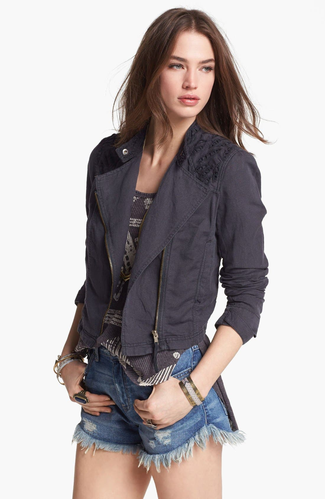 Main Image - Free People Cutwork Linen Blend Jacket
