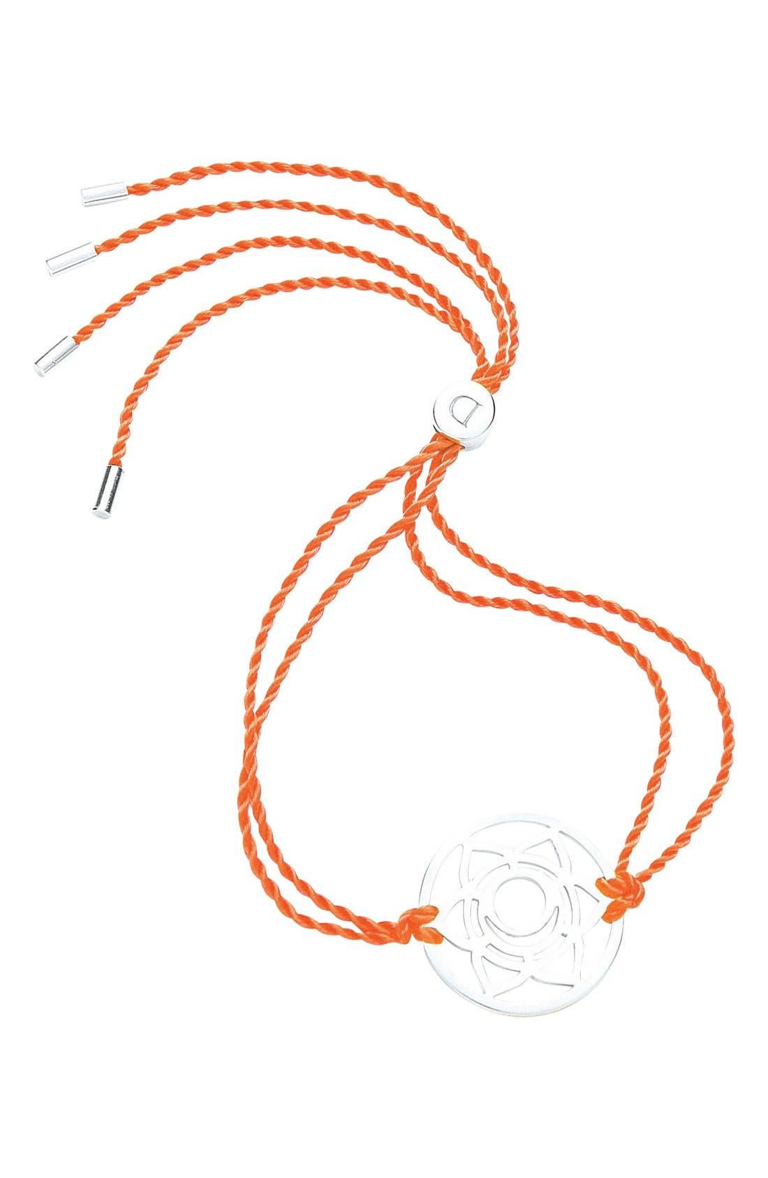 'Sacral Chakra' Cord Bracelet,                             Main thumbnail 1, color,                             925 Sterling Silver/Orange