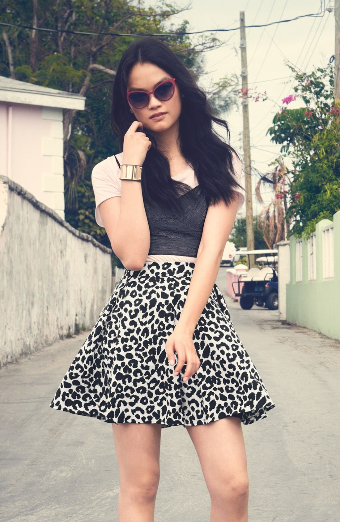 Alternate Image 5  - Collective Concepts Pleated Skater Skirt