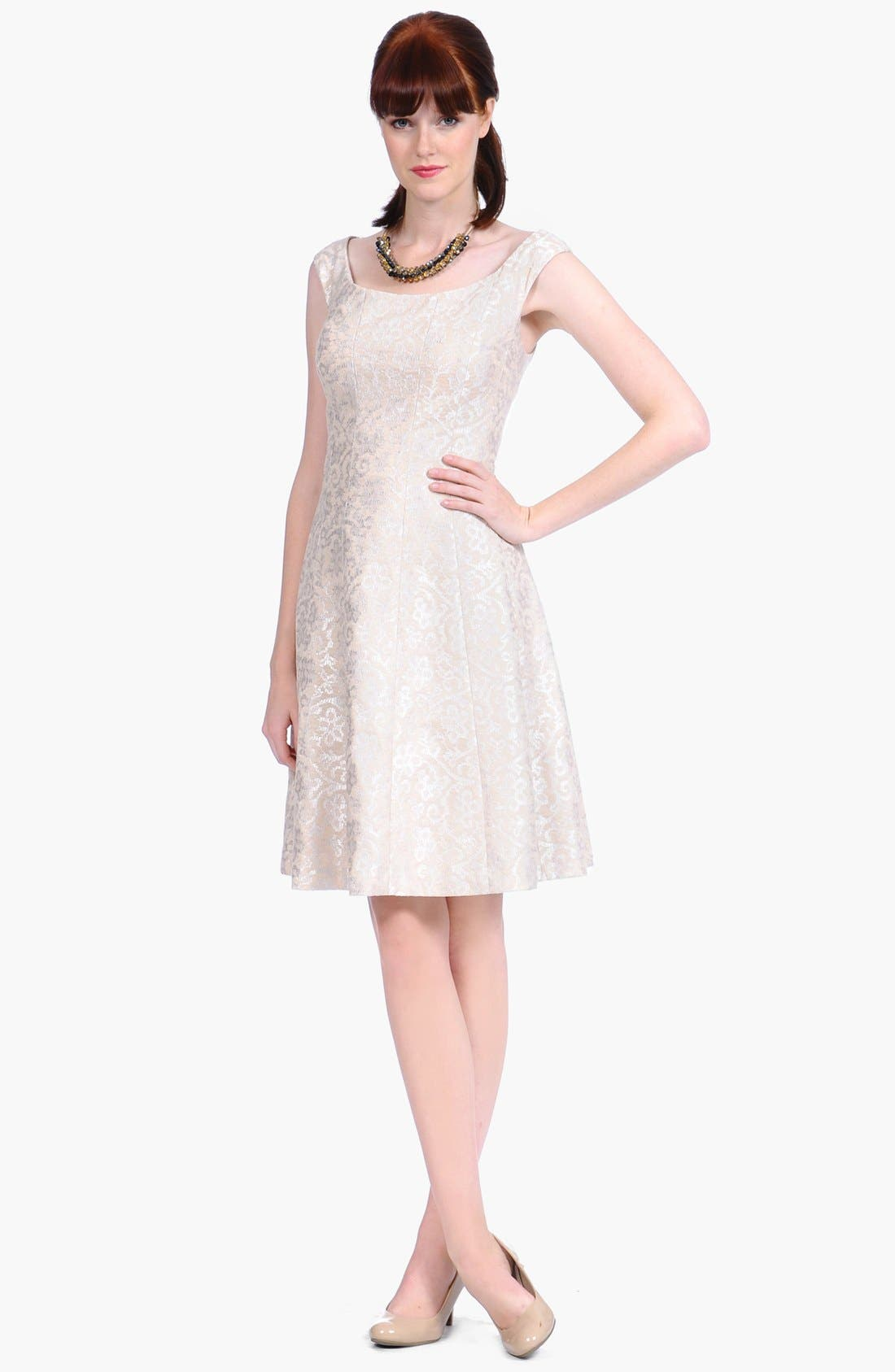 Main Image - Kay Unger Foiled Brocade Fit & Flare Dress