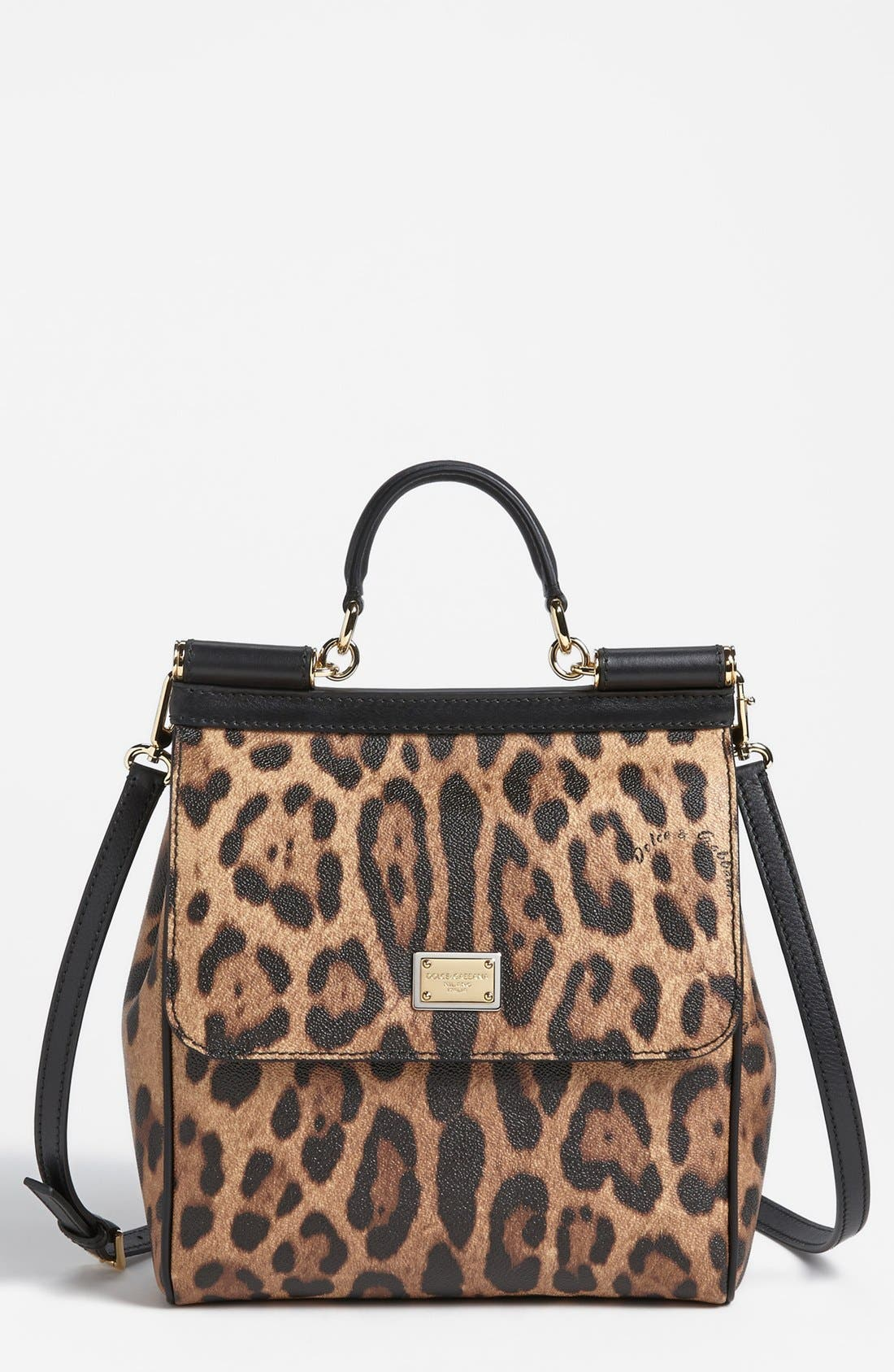 Main Image - Dolce&Gabbana 'Miss Sicily - Slim' Leopard Print Crossbody Satchel