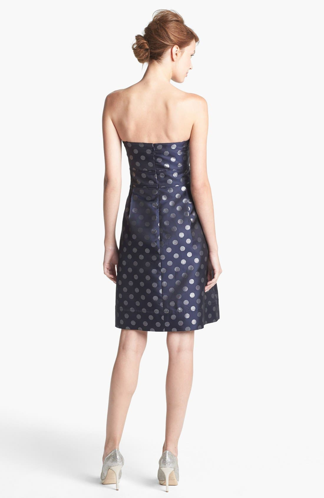 Embellished Strapless Metallic Satin Dress,                             Alternate thumbnail 2, color,                             Navy